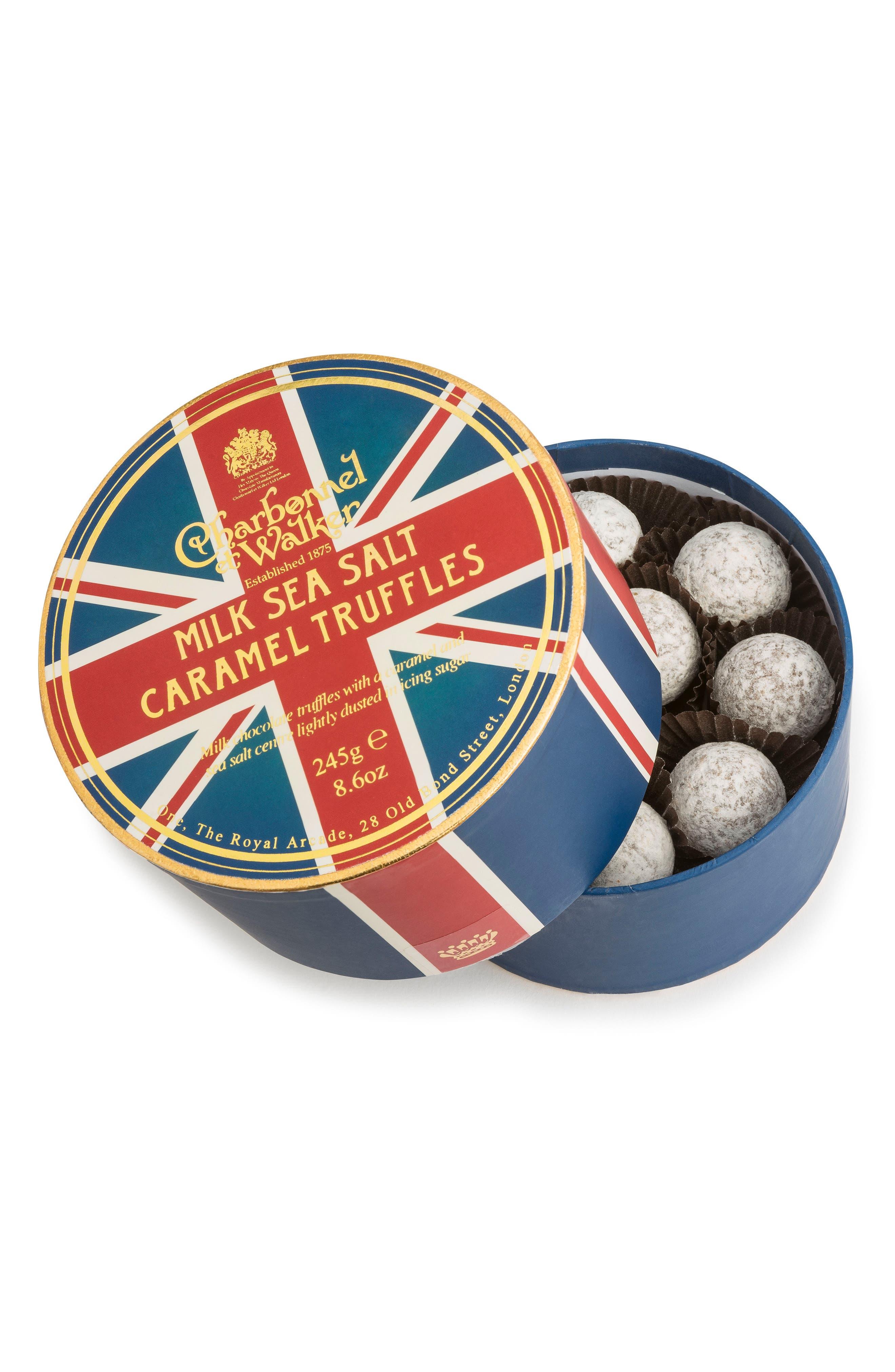 Sea Salt Milk Chocolate Truffles in Union Flag Gift Box,                             Main thumbnail 1, color,                             RED/ BLUE