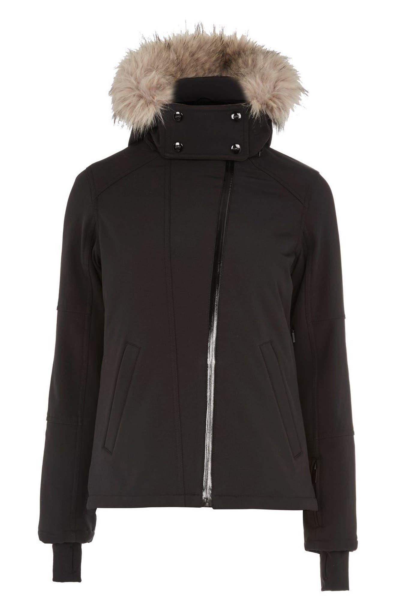 SNO Gladiator Faux Fur Hood Puffer Jacket,                             Alternate thumbnail 4, color,                             001