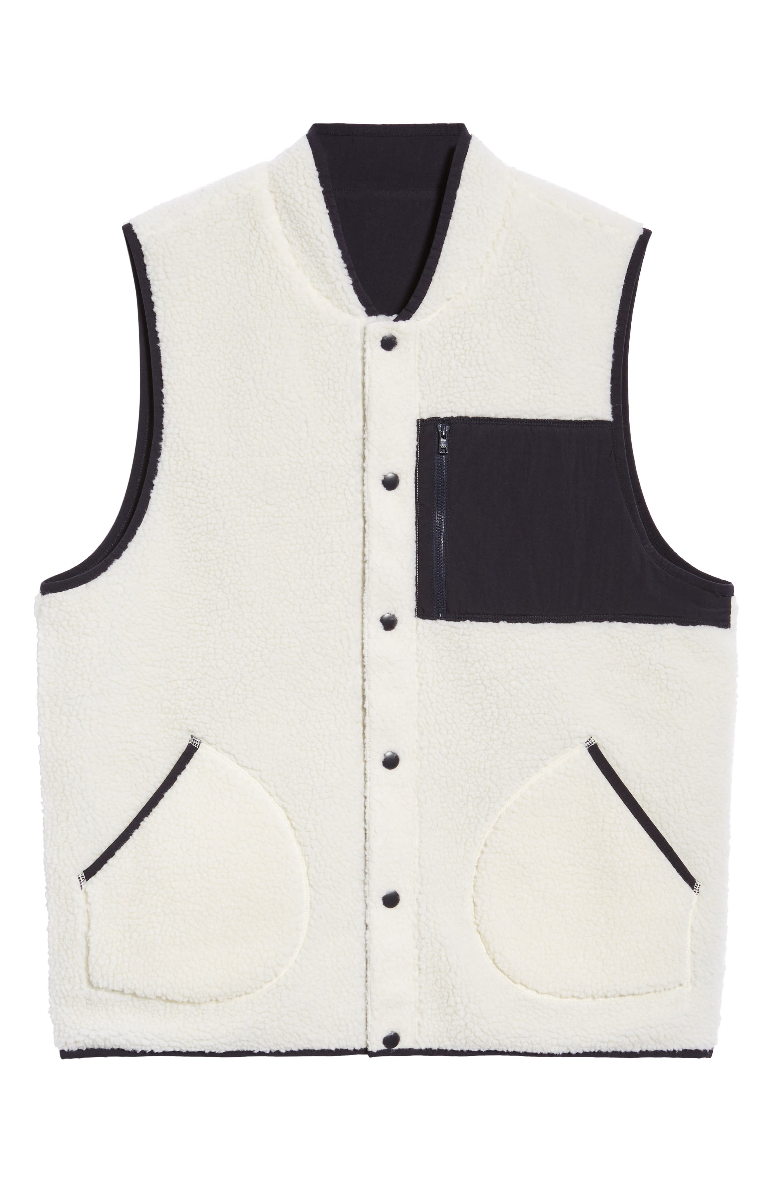 Reversible Fleece Vest,                             Alternate thumbnail 7, color,                             IVORY EGRET