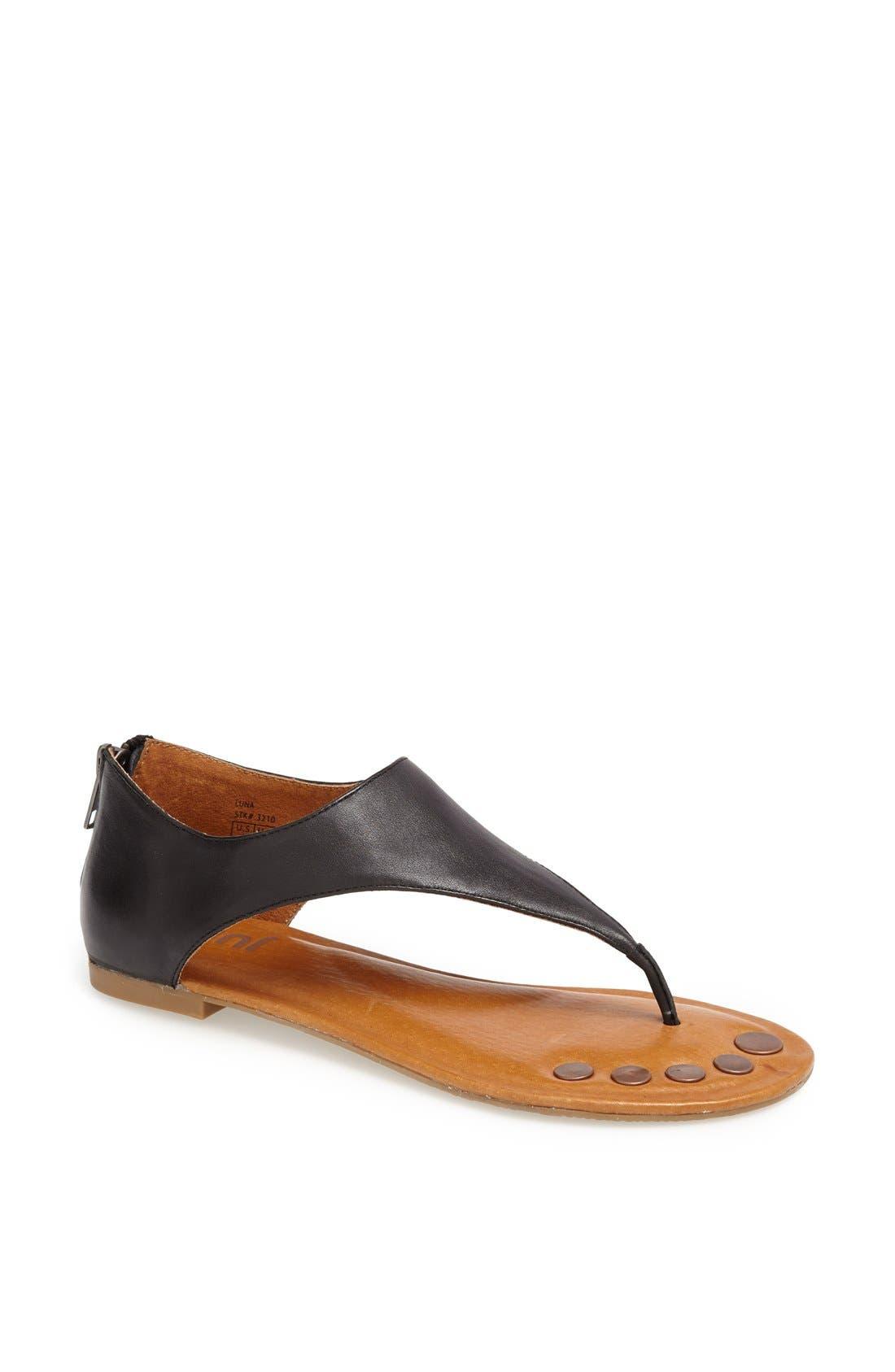 'Luna' Metallic Leather Thong Sandal,                             Main thumbnail 1, color,                             010