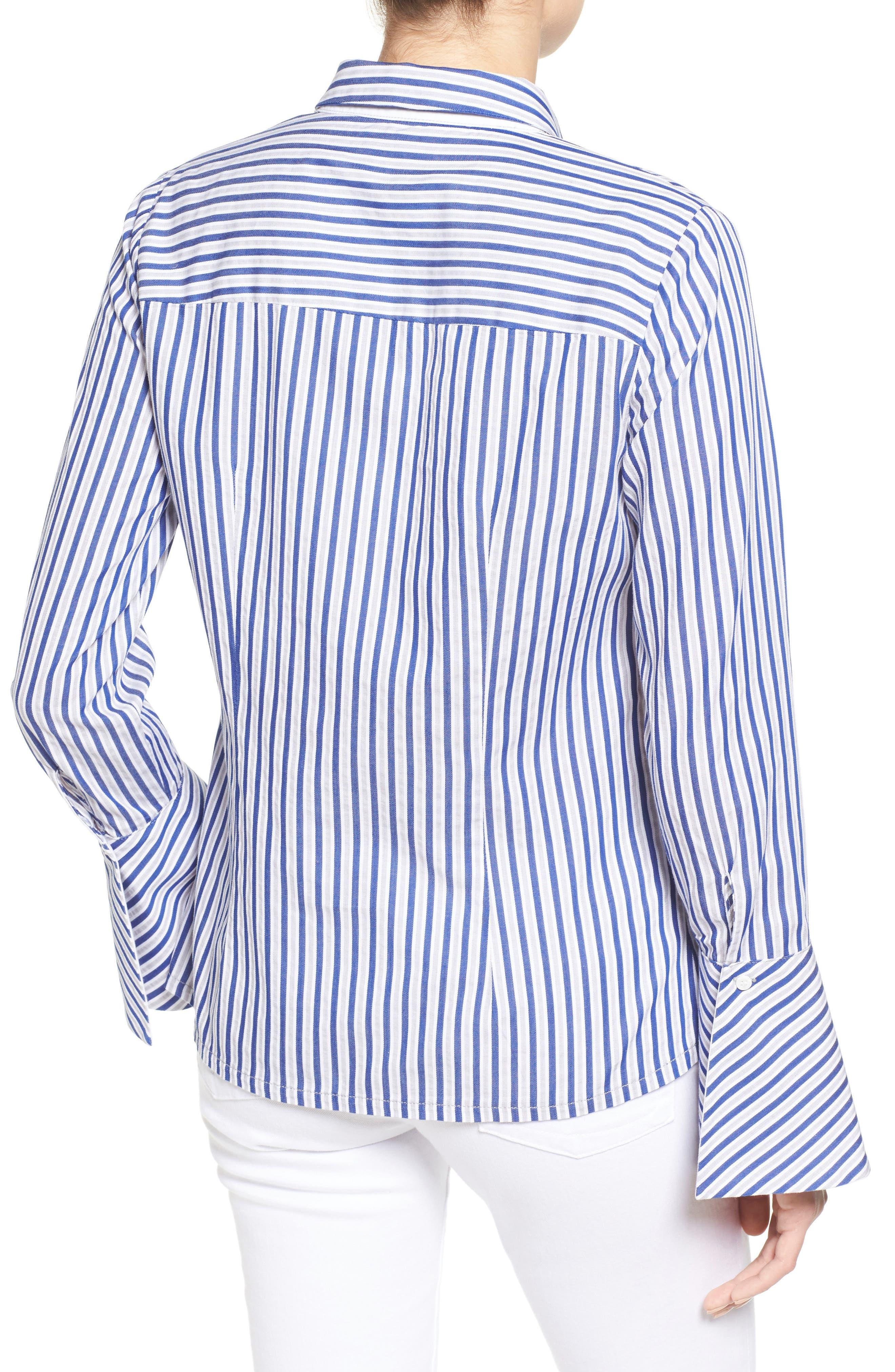 Luz Stripe Bell Cuff Shirt,                             Alternate thumbnail 2, color,                             494