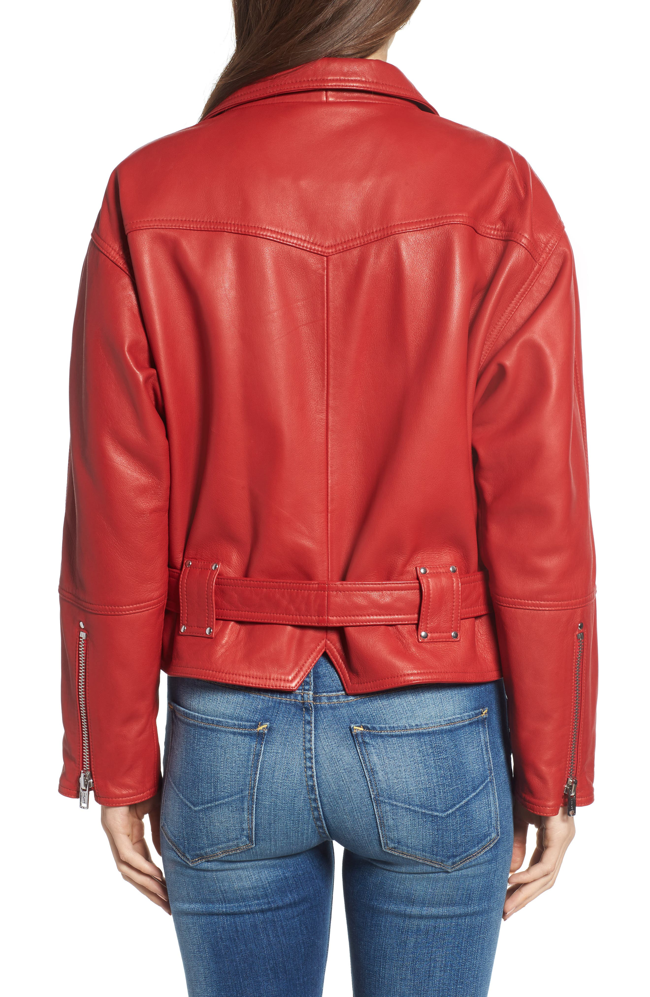Leather Jacket,                             Alternate thumbnail 2, color,                             RIOT