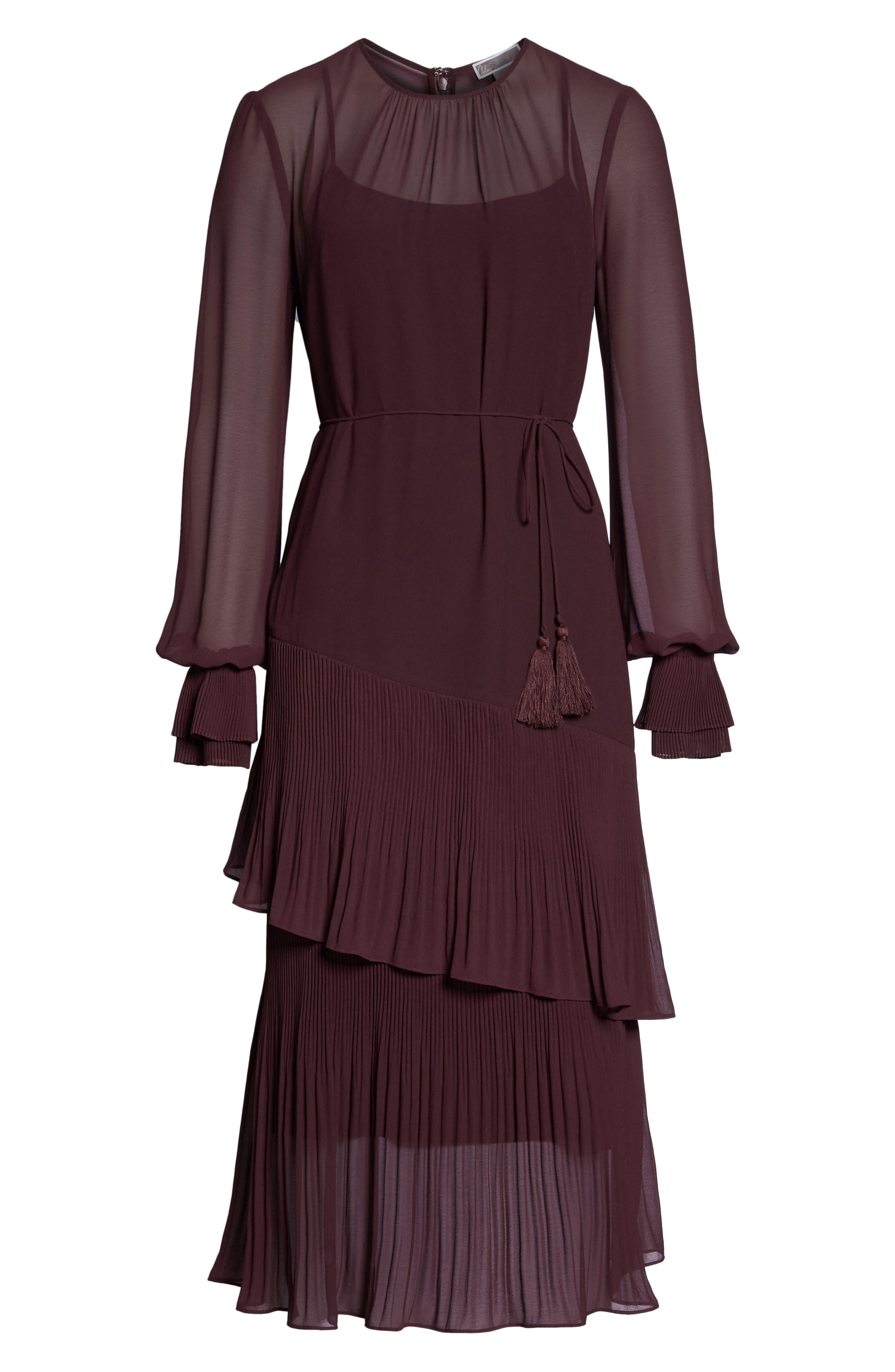 Pleat Detail Midi Dress,                             Alternate thumbnail 6, color,                             BURGUNDY STEM