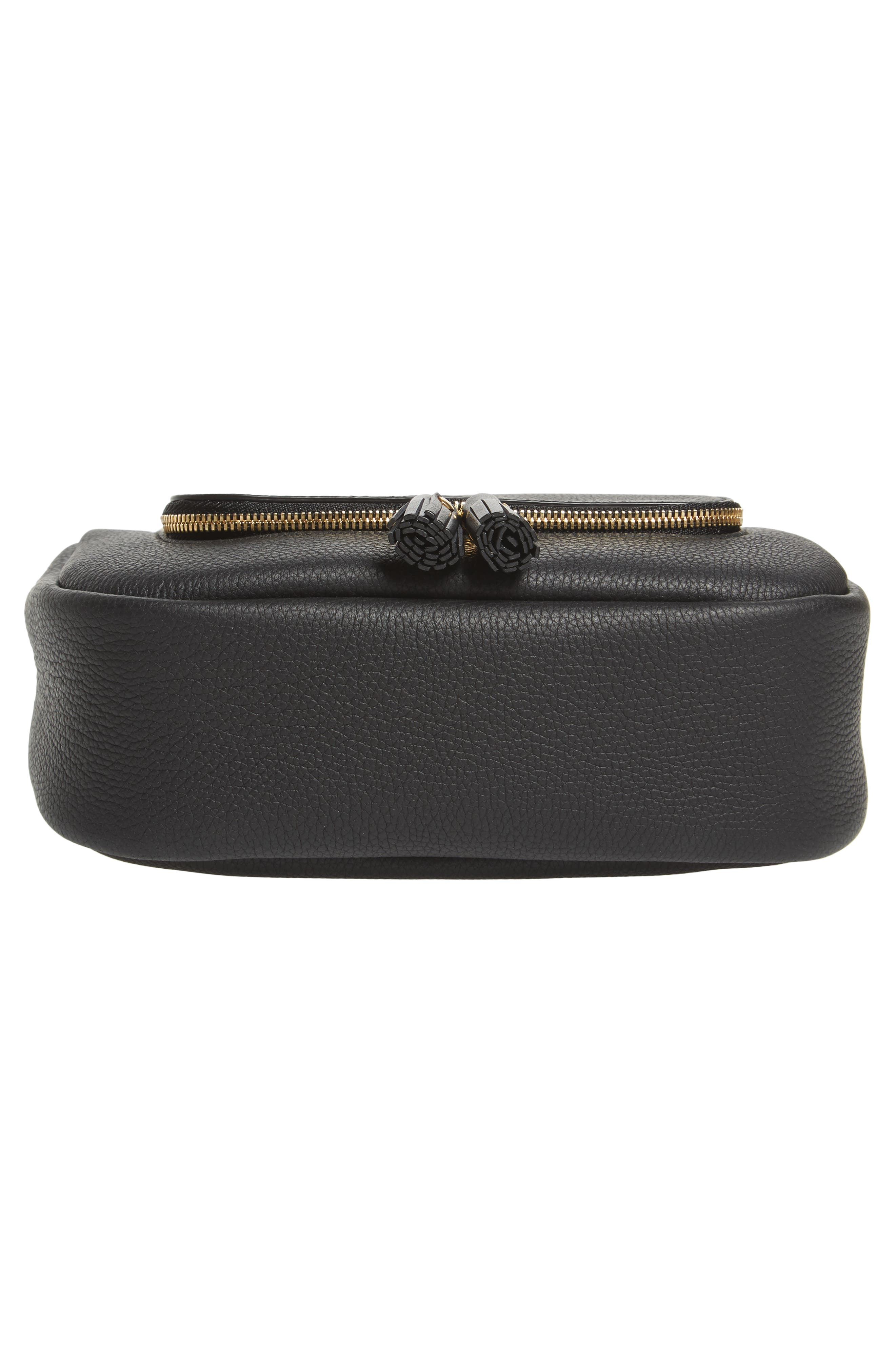 Small Vere Leather Crossbody Satchel,                             Alternate thumbnail 6, color,                             BLACK
