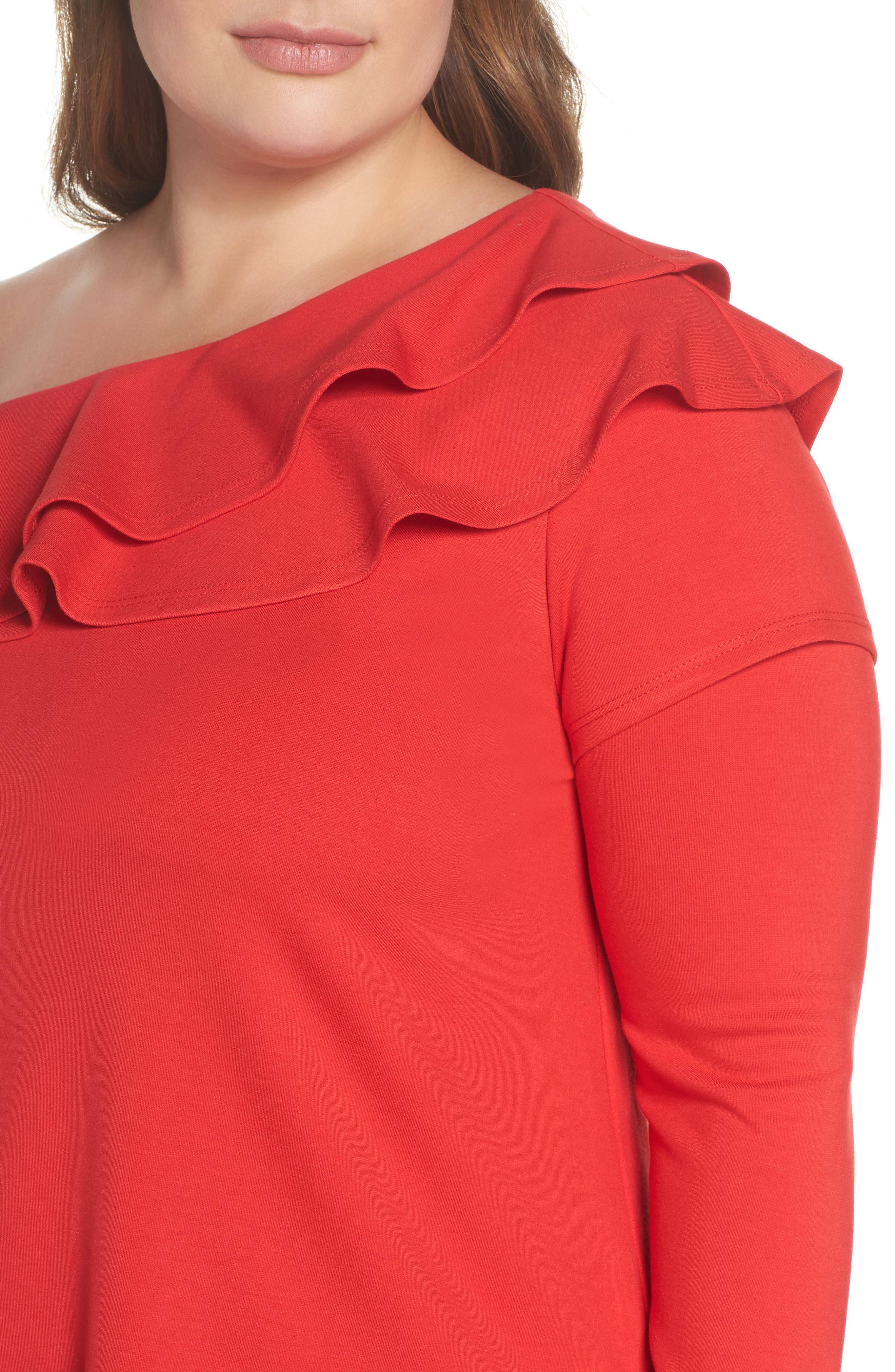 x Living in Yellow Elizabeth One-Shoulder Ruffle Top,                             Alternate thumbnail 17, color,