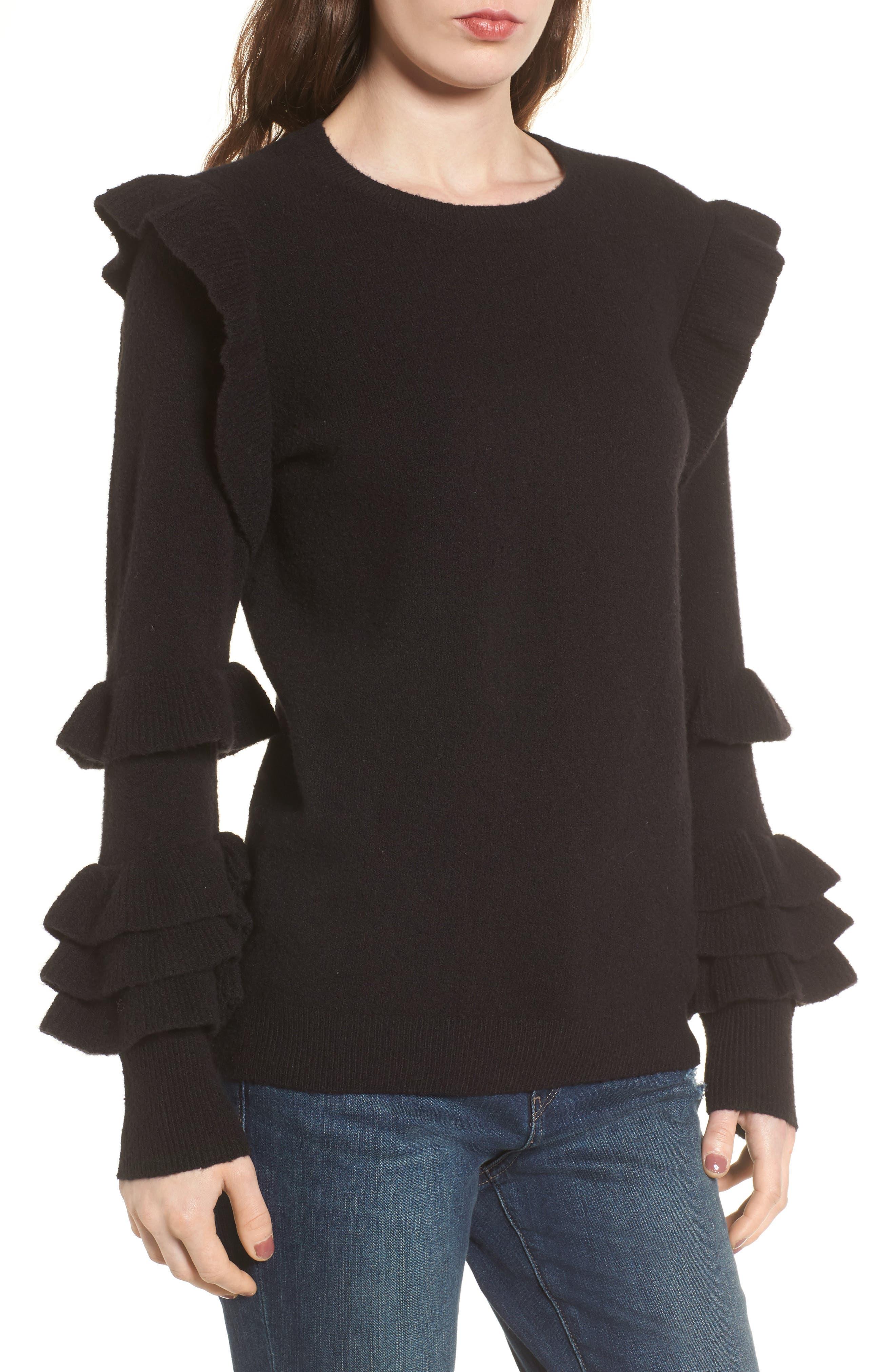Ruffle Sleeve Sweater,                             Main thumbnail 1, color,                             001