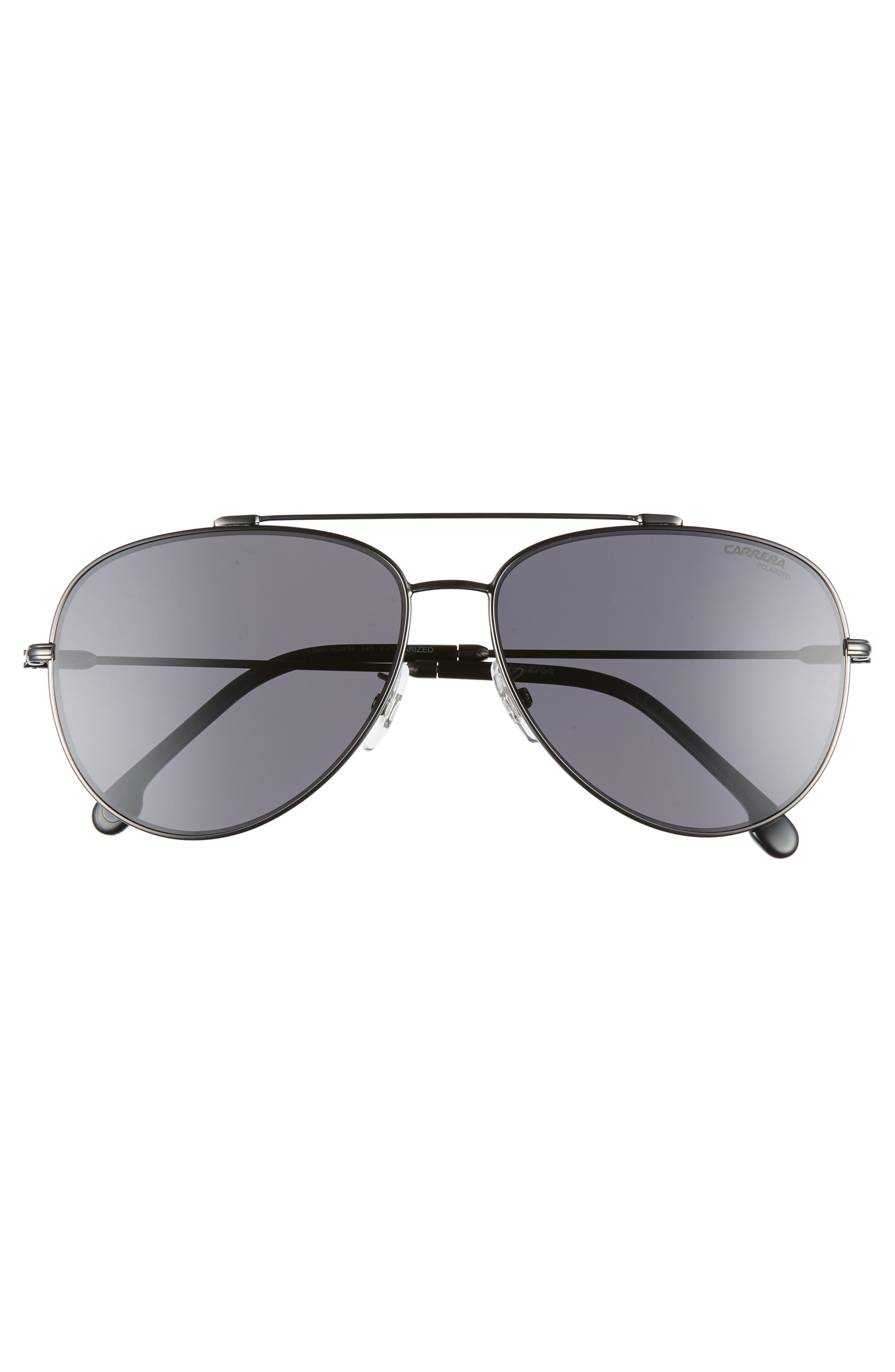 62mm Polarized Aviator Sunglasses,                             Alternate thumbnail 2, color,                             DARK RUTHENIUM/ BLACK