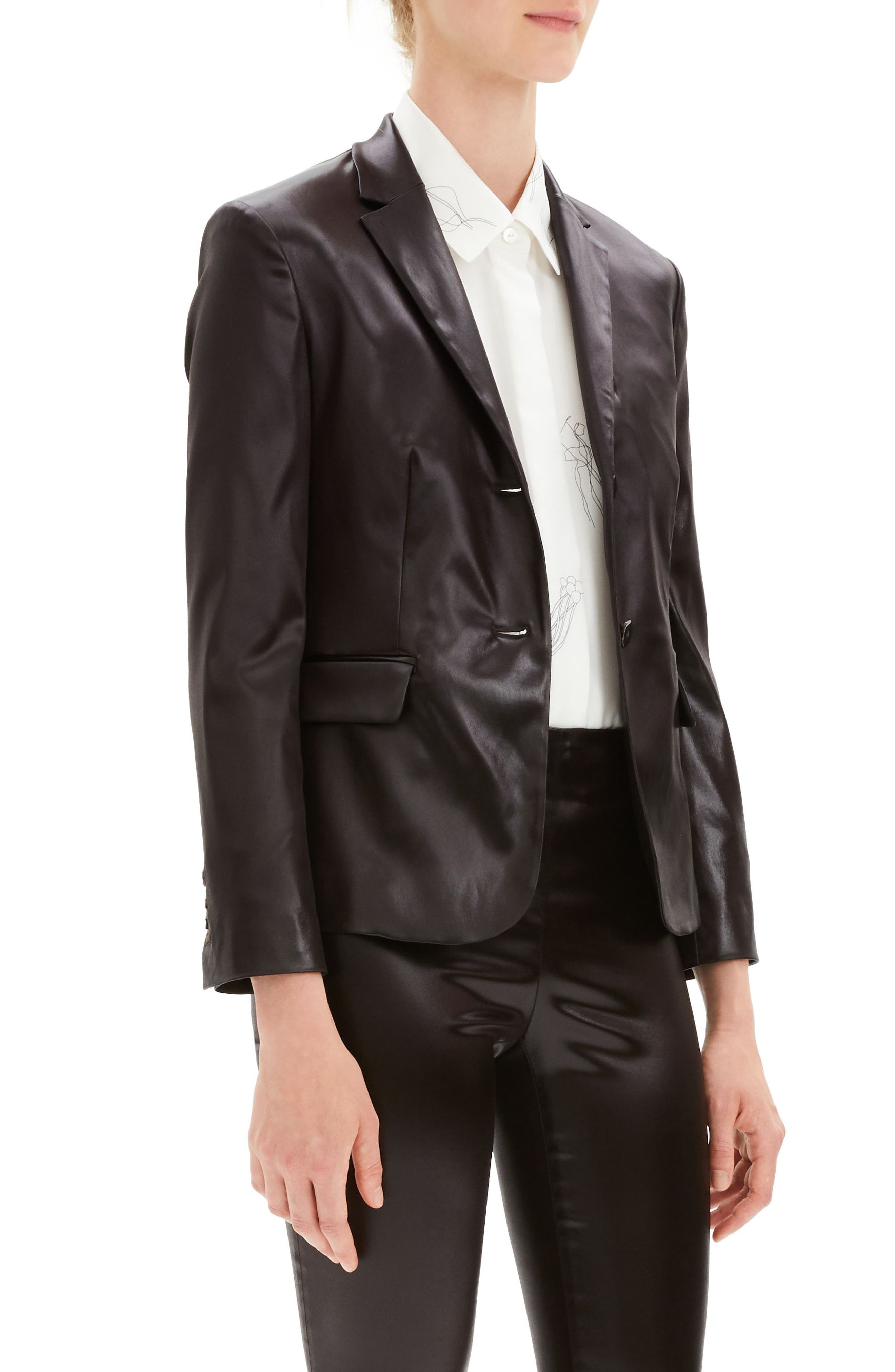 Faux Leather Shrunken Jacket,                             Alternate thumbnail 3, color,                             MINK BROWN