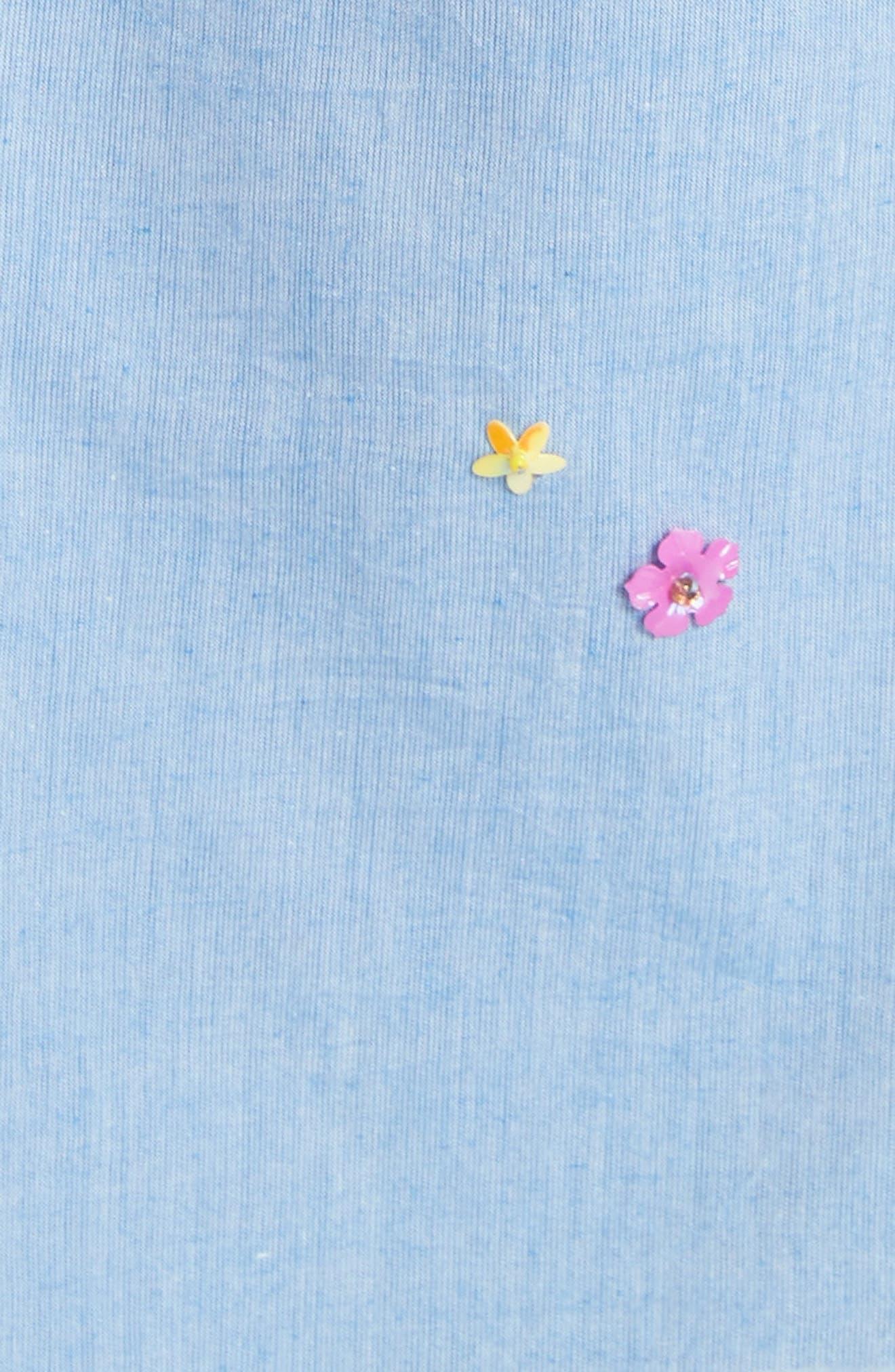 Clarimonde Embroidered Off the Shoulder Cotton Dress,                             Alternate thumbnail 5, color,                             400