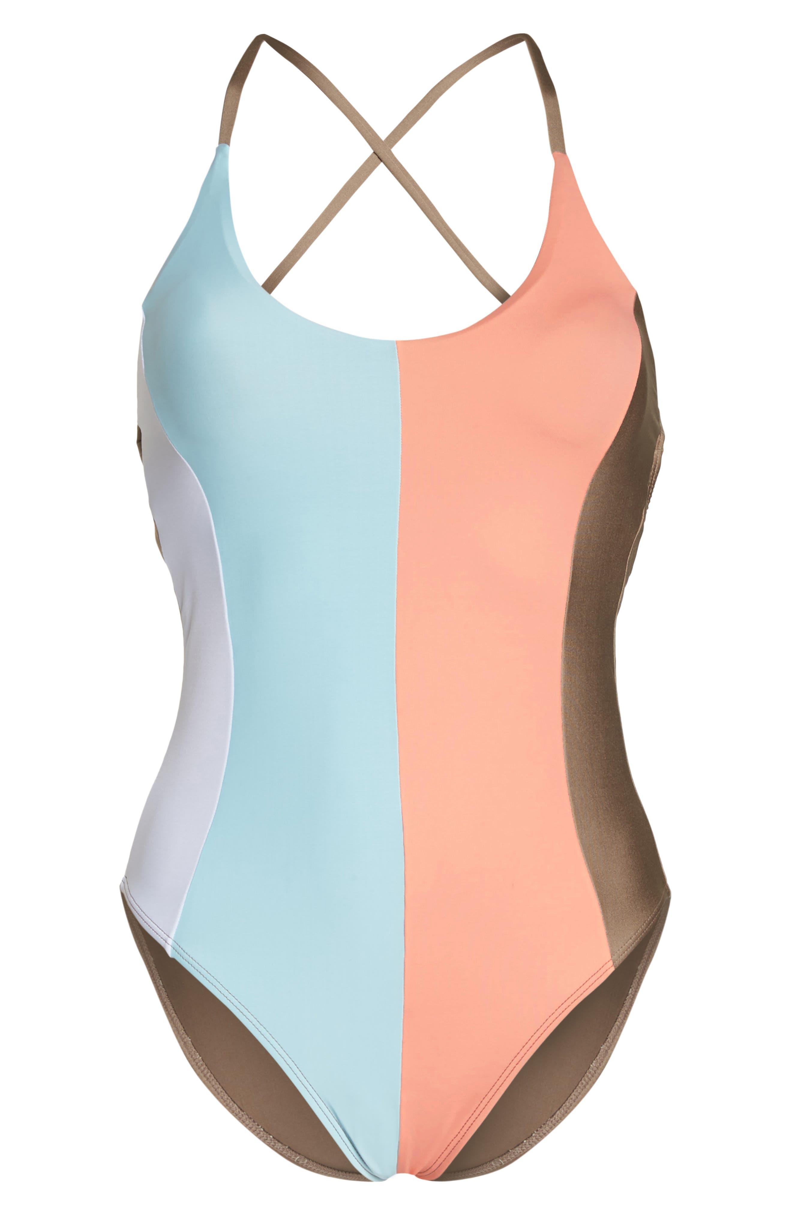 Farrah Stripe One-Piece Swimsuit,                             Alternate thumbnail 6, color,                             430