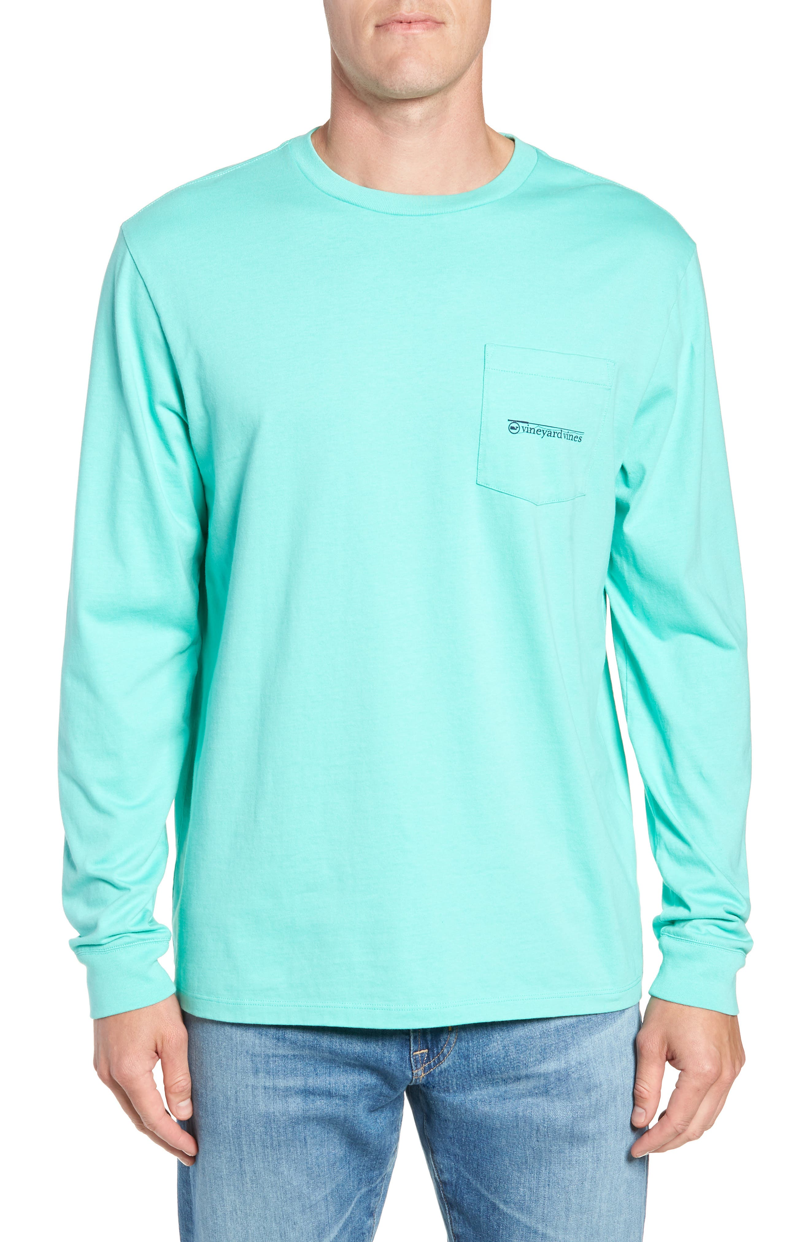 Fishing Rod Pocket T-Shirt,                         Main,                         color, CAPRI BLUE