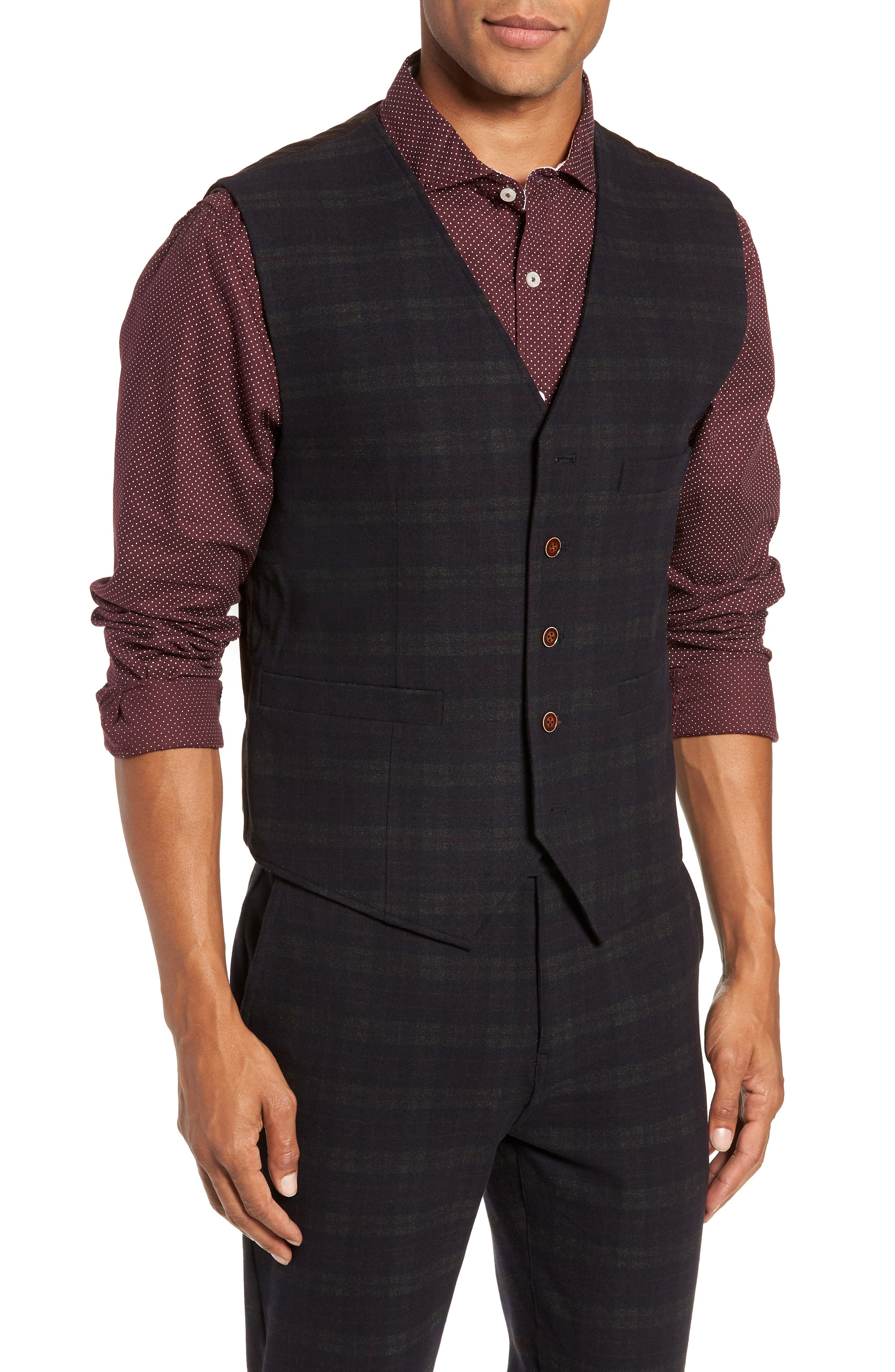 Albert Regular Fit Stretch Vest,                         Main,                         color, MIDNIGHT/ RED/ CHARCOAL