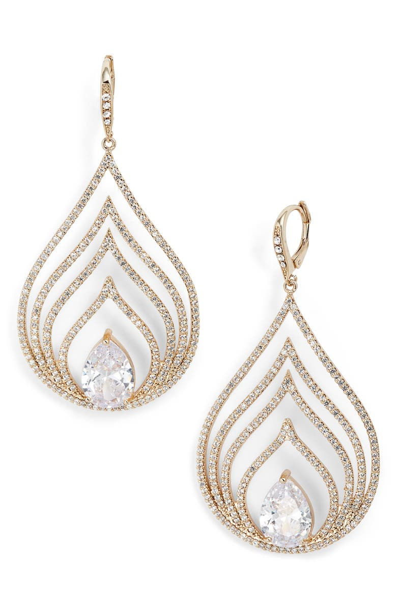 Jenny Packham PAVE OPENWORK CHANDELIER EARRINGS