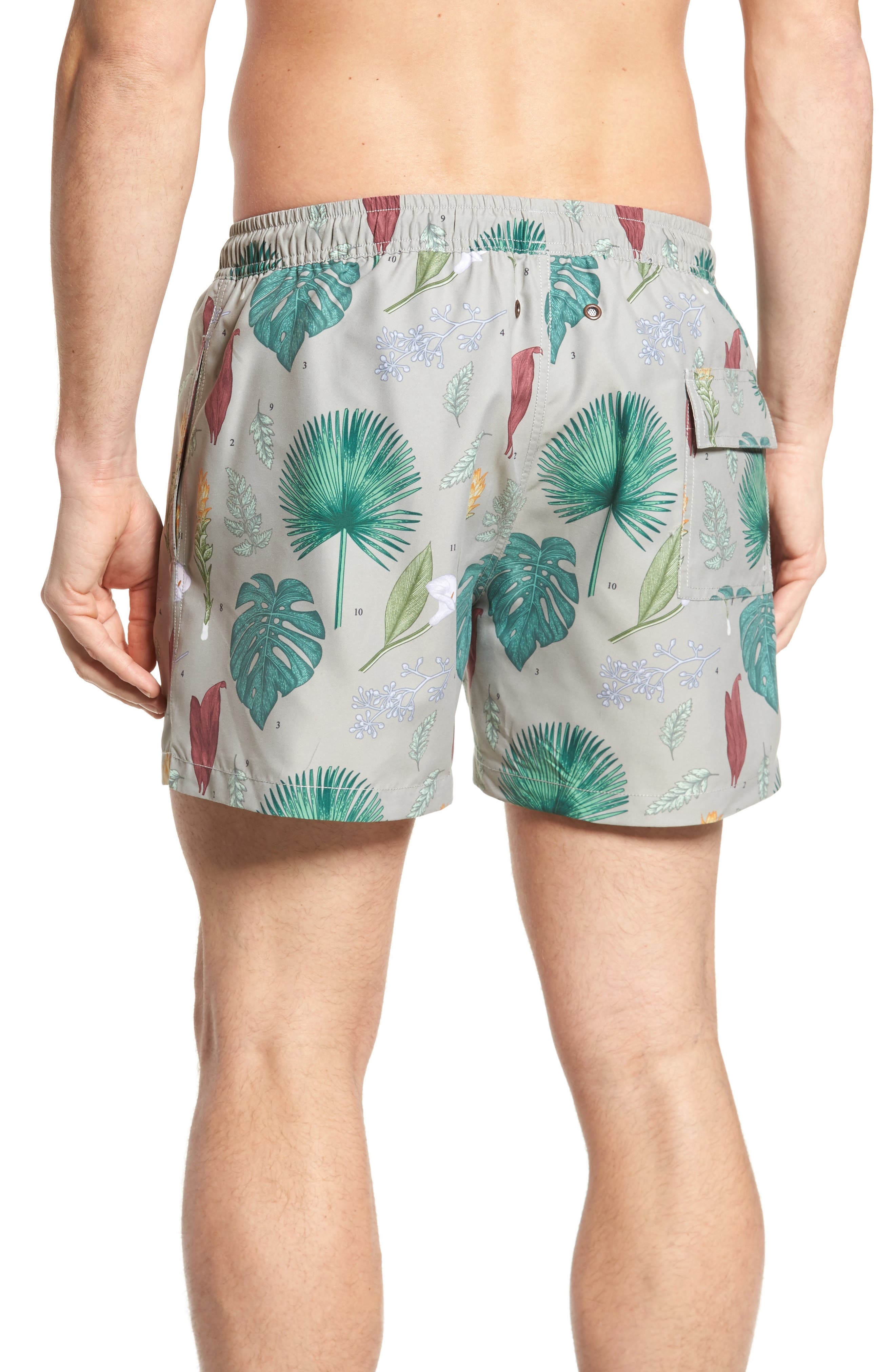 Flower Power Slim Fit Swim Trunks,                             Alternate thumbnail 2, color,                             300
