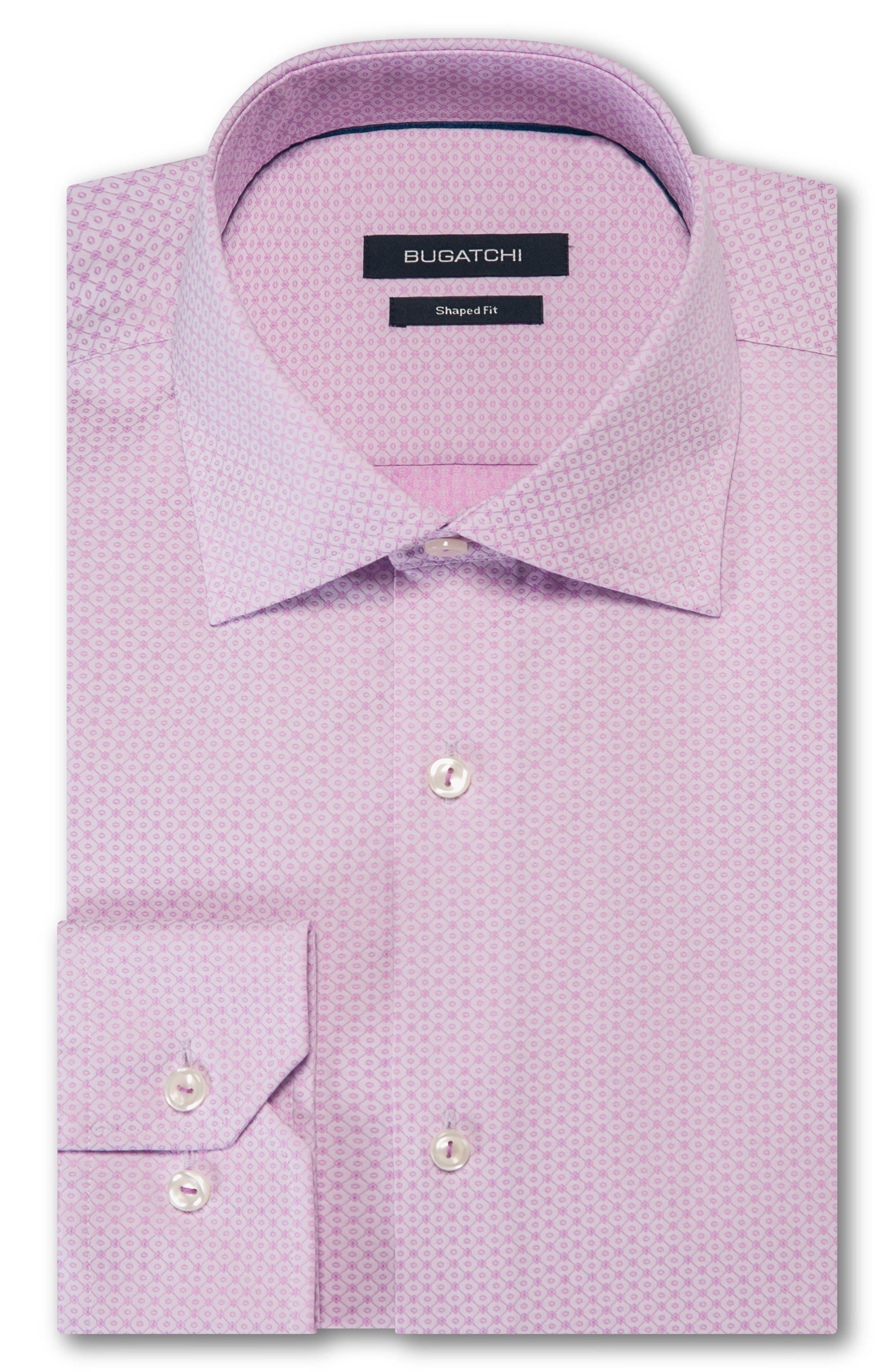 Trim Fit Dot Dress Shirt,                         Main,                         color, PINK