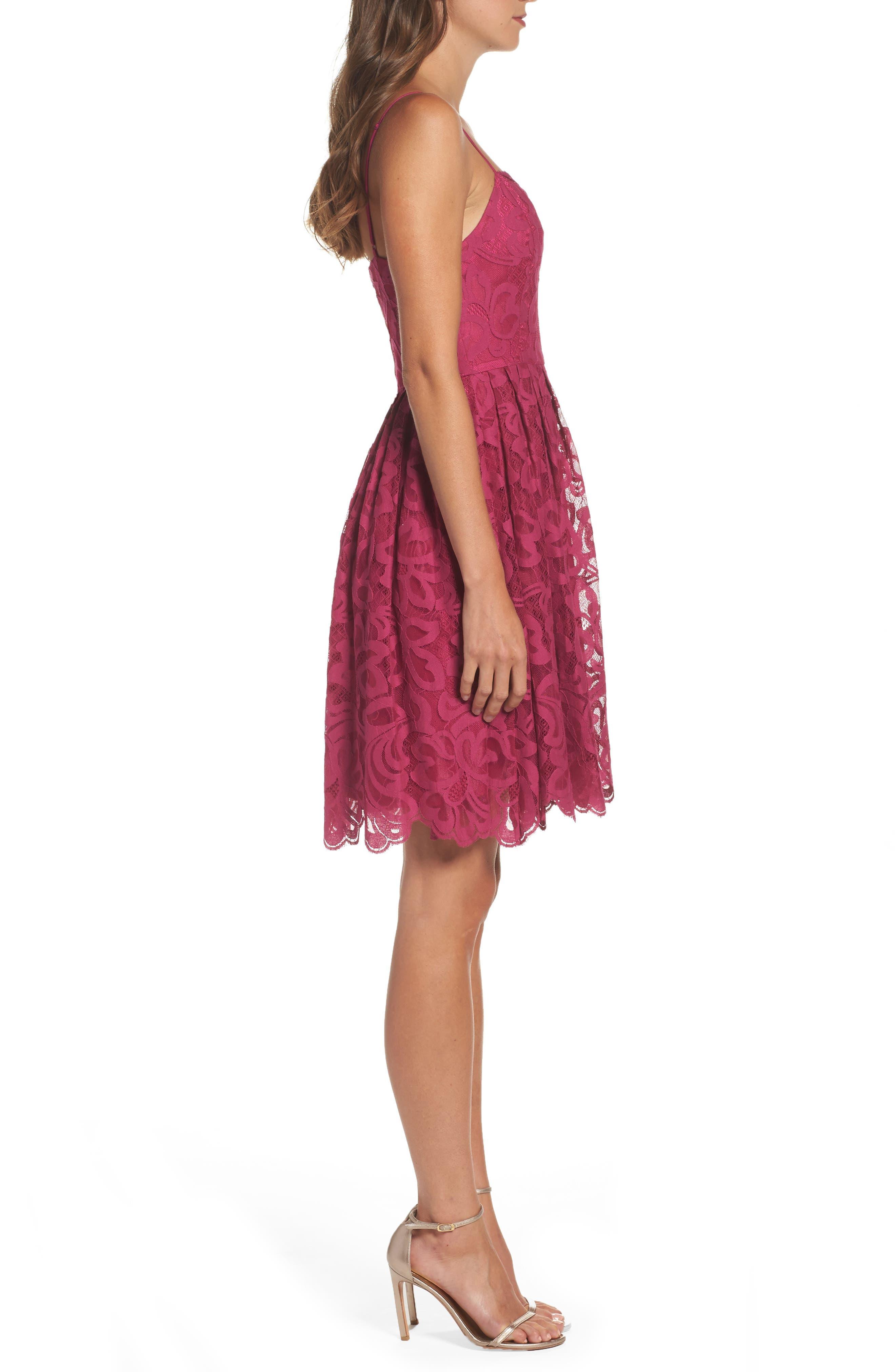 Celeste Scalloped Lace Fit & Flare Dress,                             Alternate thumbnail 3, color,