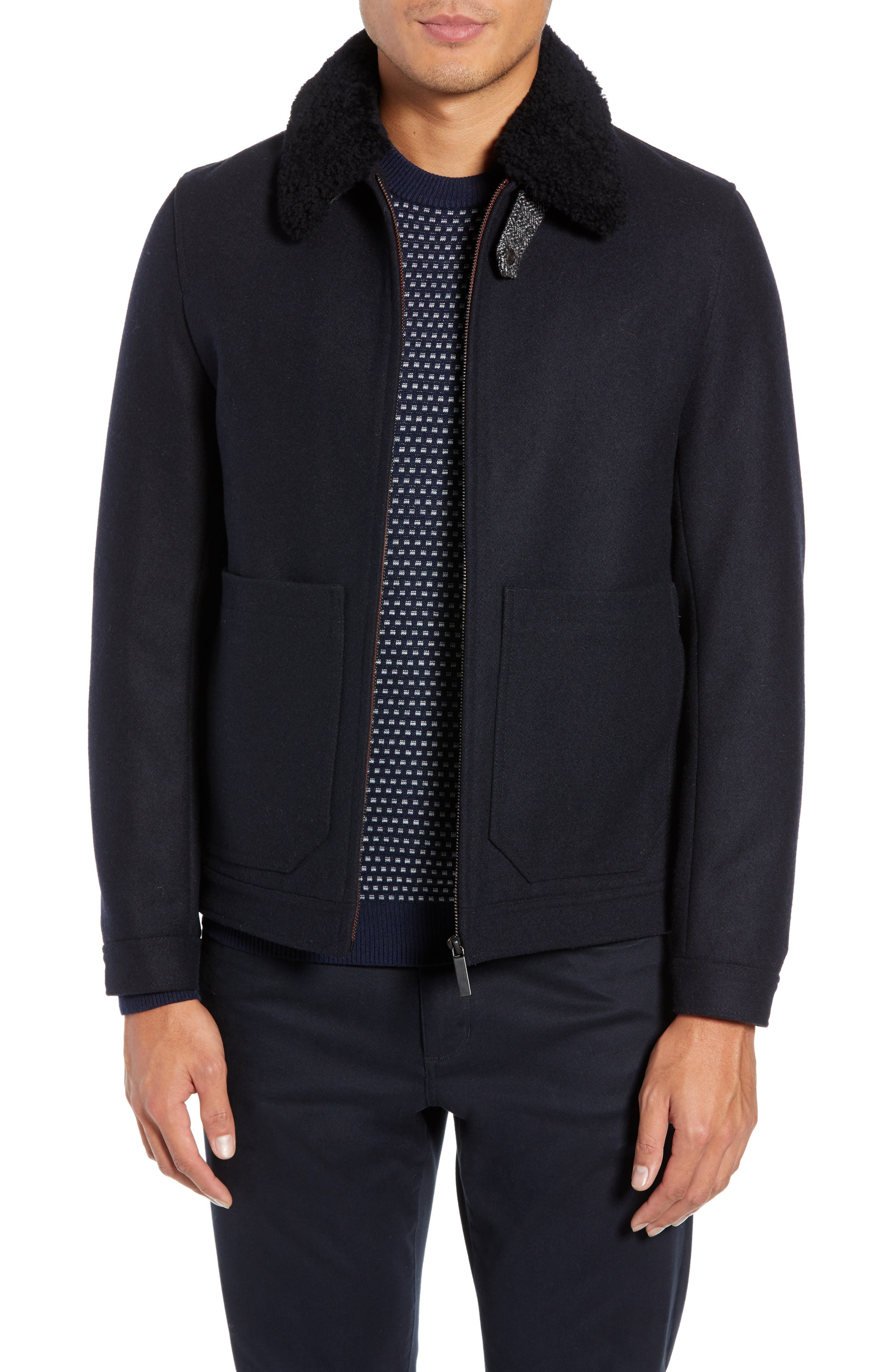 Faux Shearling Trim Wool Blend Jacket,                         Main,                         color, NAVY