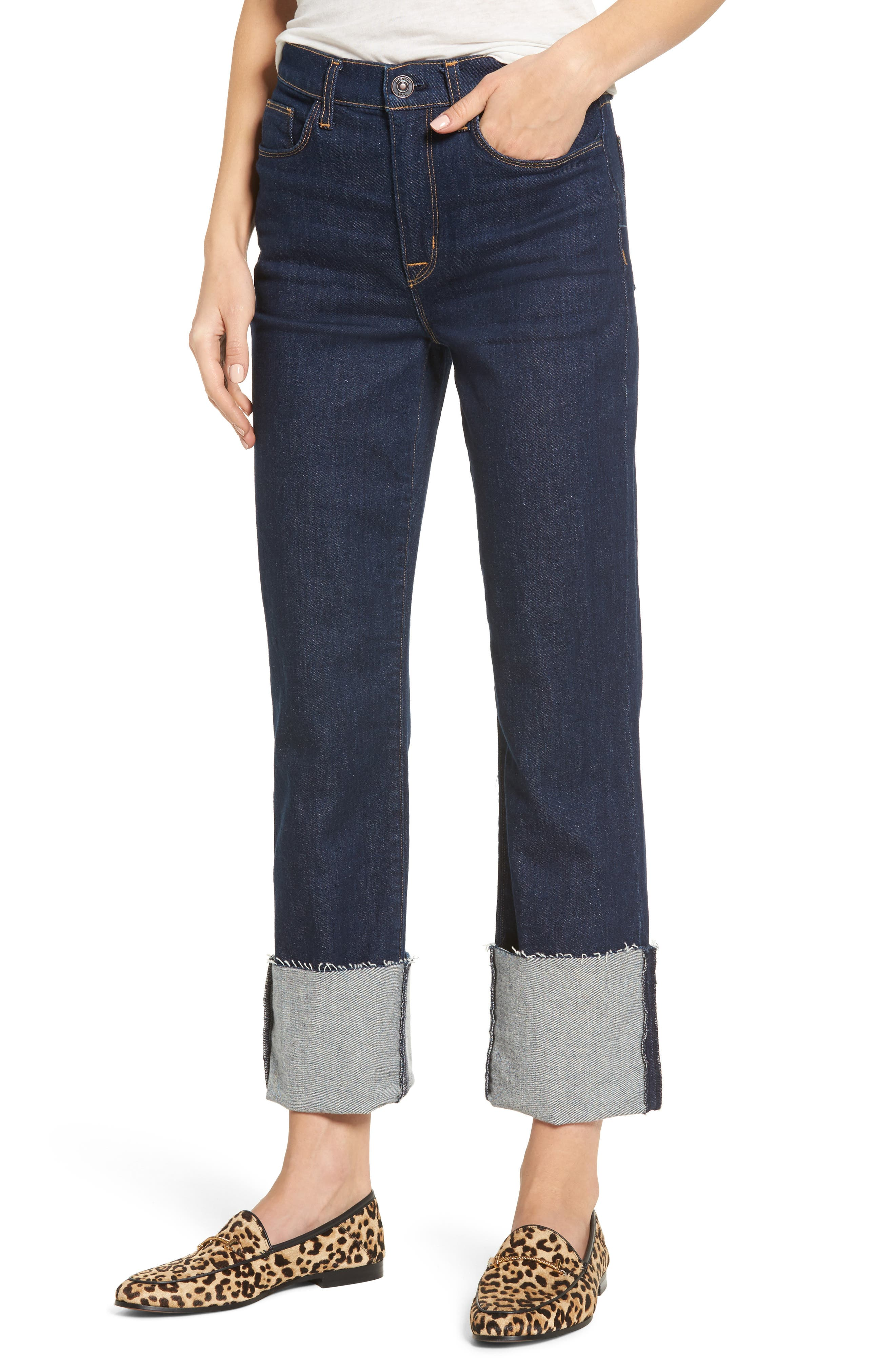 Zoeey High Waist Crop Straight Leg Jeans,                         Main,                         color,