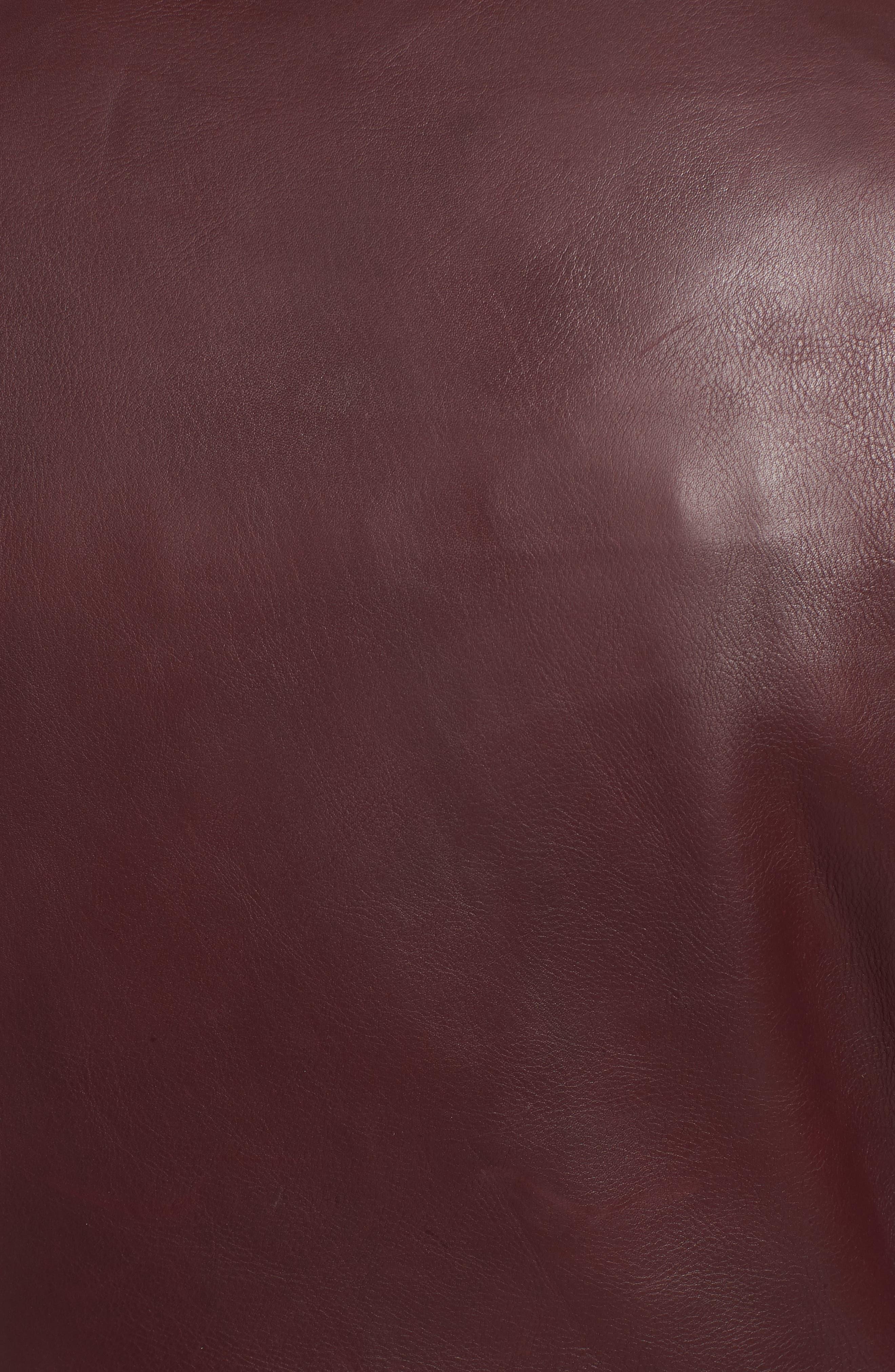 Leather Biker Jacket,                             Alternate thumbnail 6, color,                             BLACKENED BORDEAUX