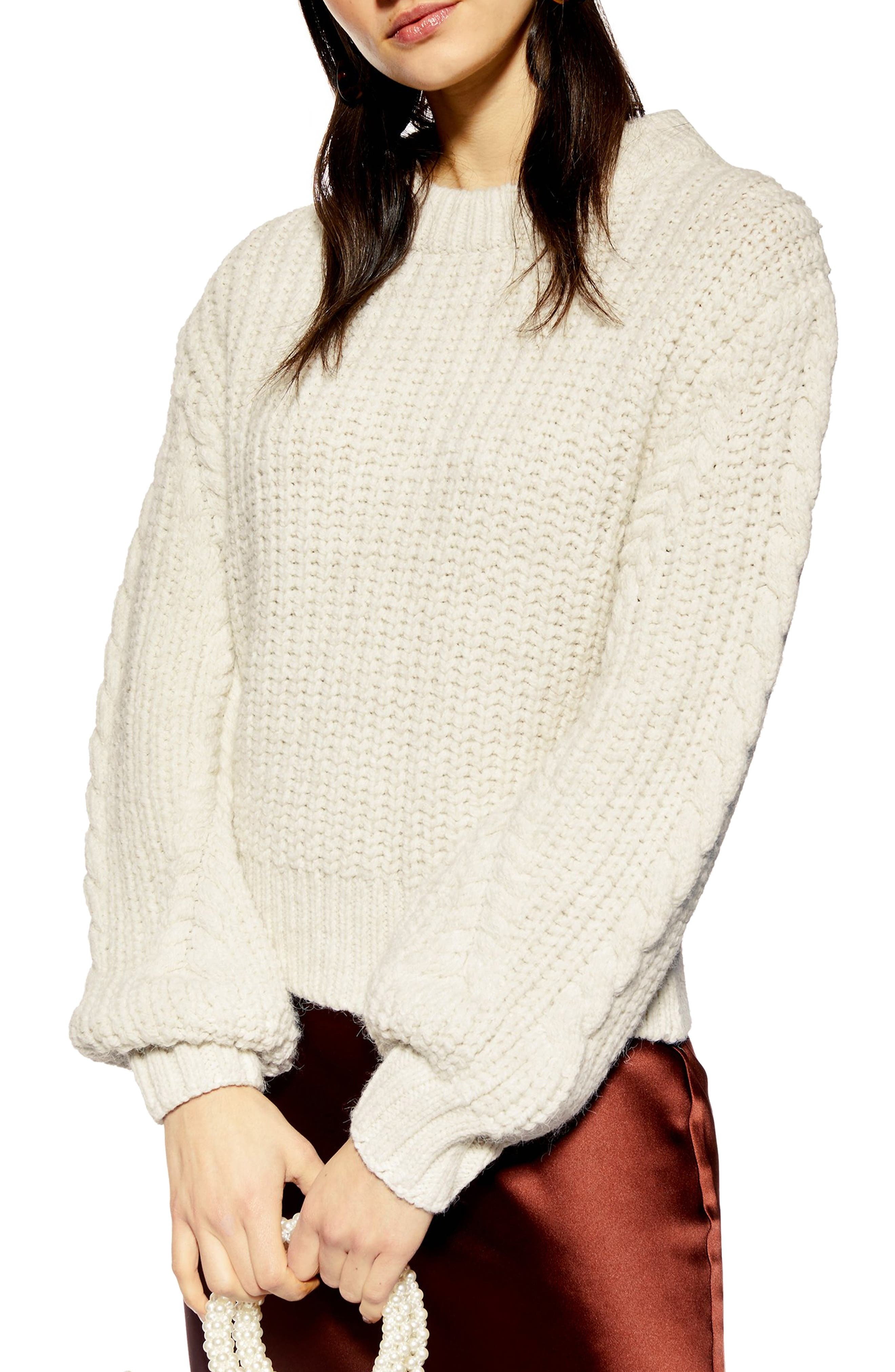 TOPSHOP Bishop Sleeve Cable Knit Sweater, Main, color, OATMEAL