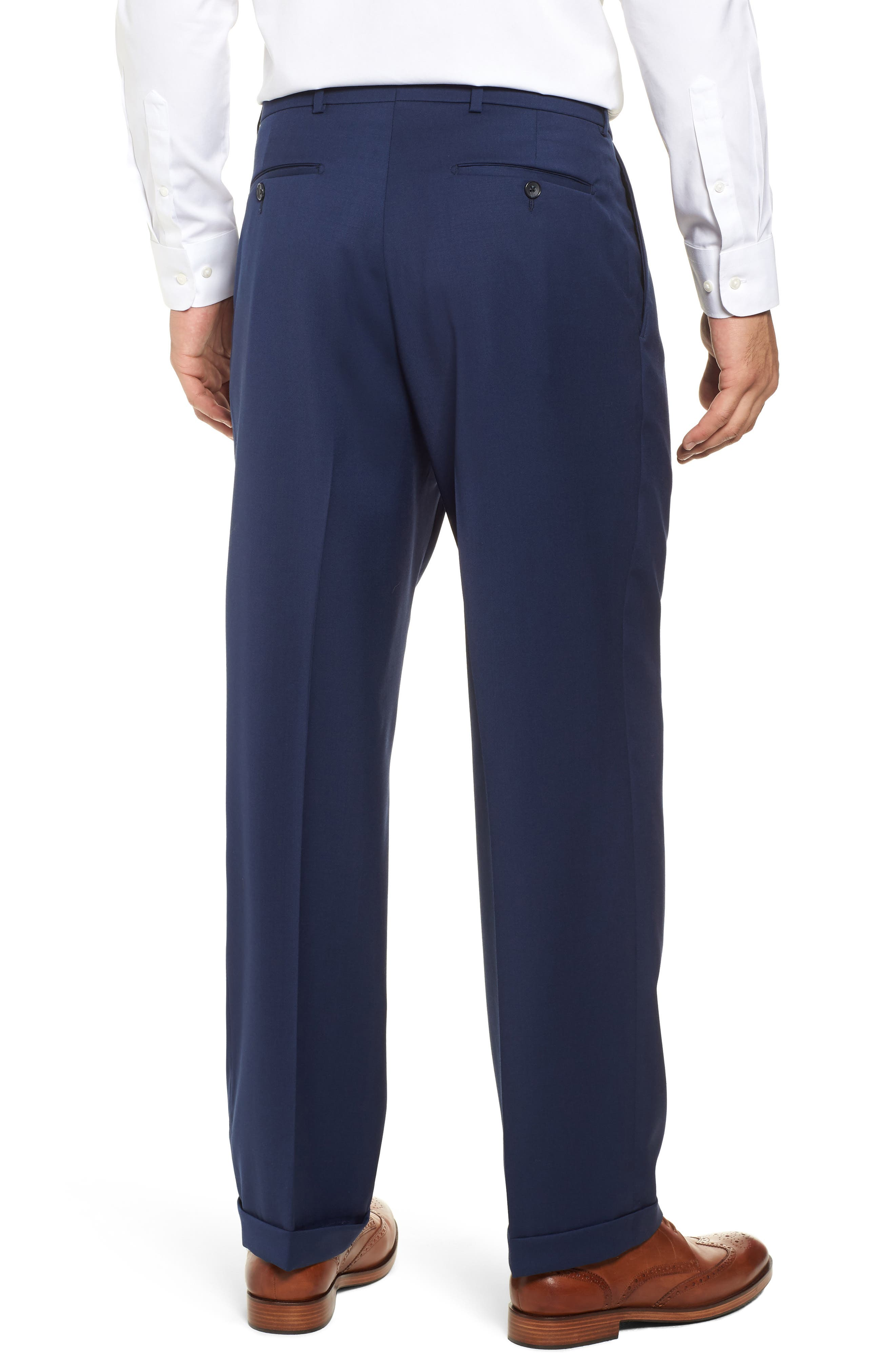 Pleated Solid Wool Trousers,                             Alternate thumbnail 15, color,