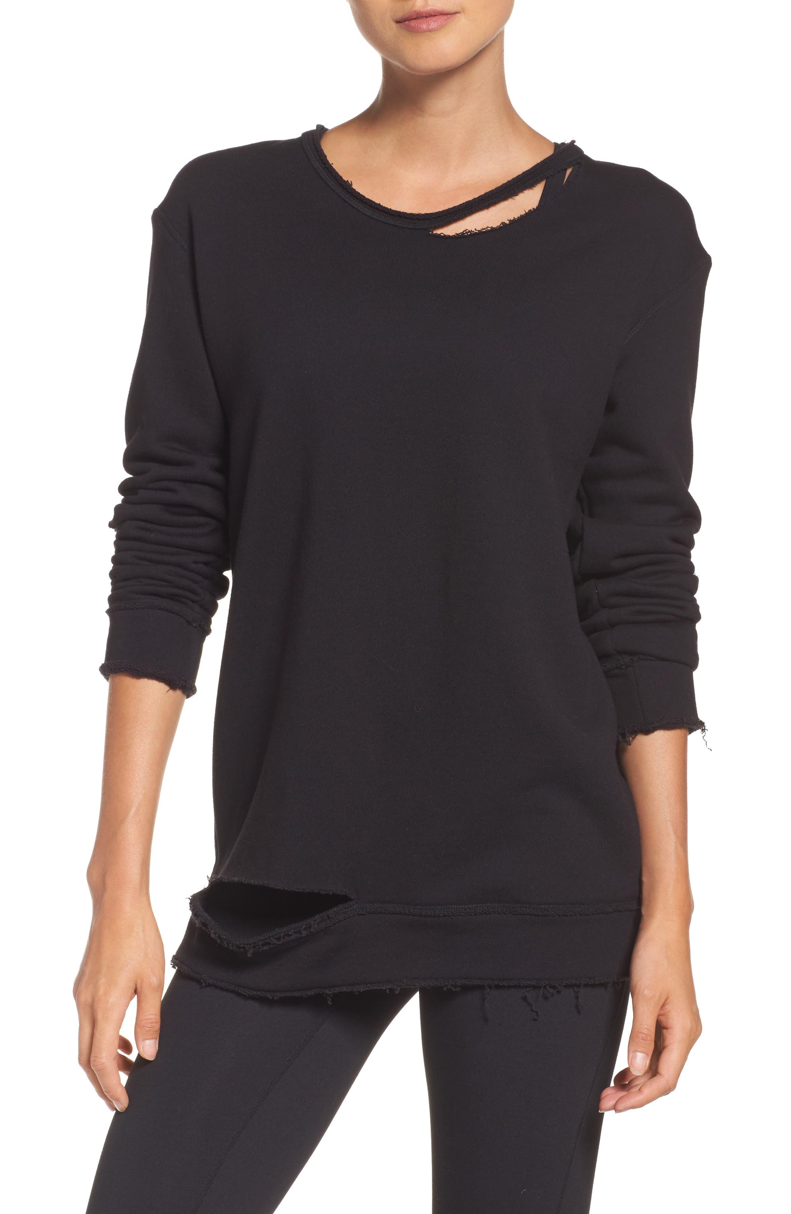 Cypher Destroyed Sweatshirt,                         Main,                         color, BLACK