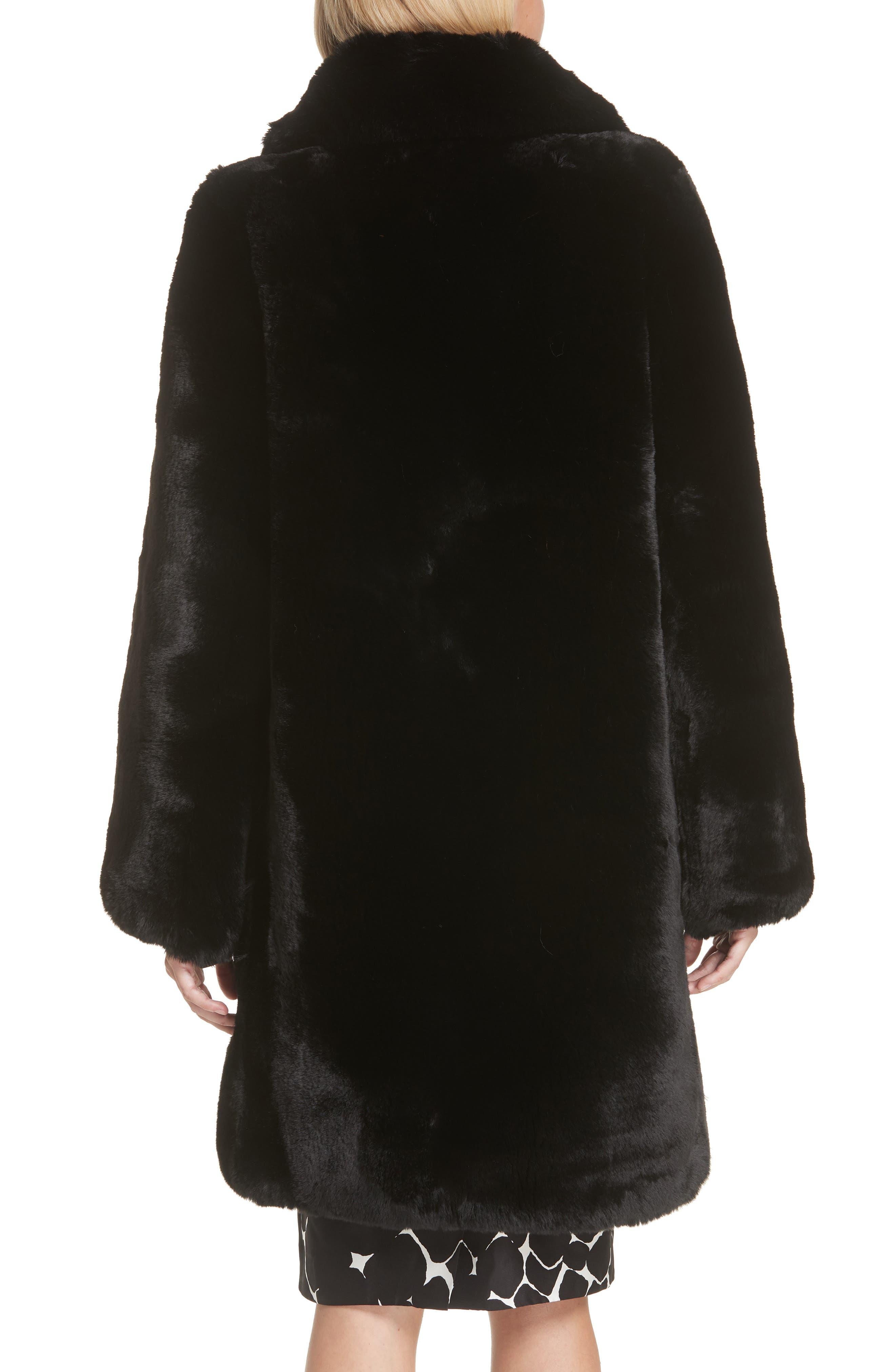 Faux Fur Coat,                             Alternate thumbnail 3, color,                             001