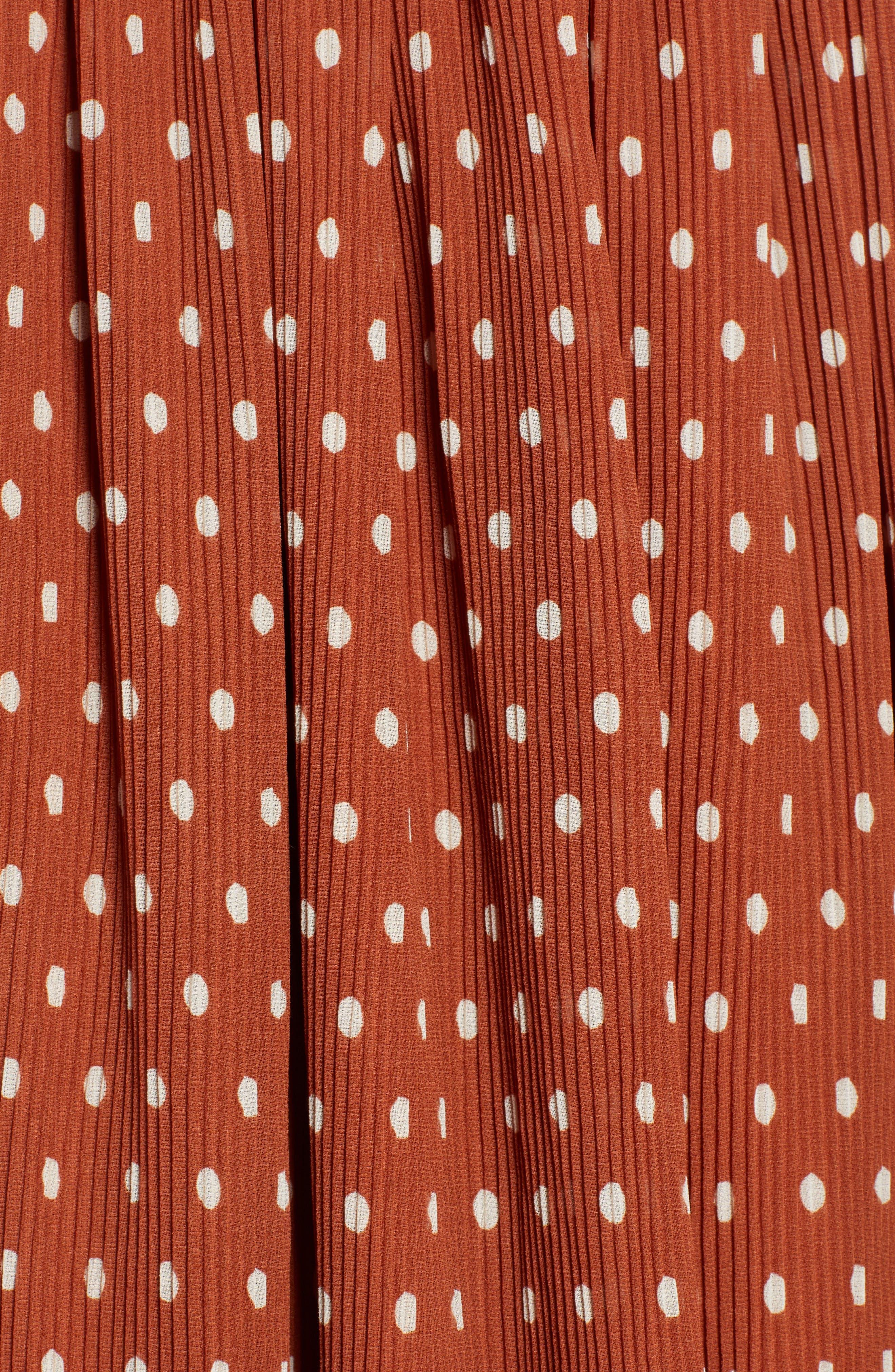 x Atlantic-Pacific Crinkle Midi Skirt,                             Alternate thumbnail 6, color,                             RUST SPACED DOT