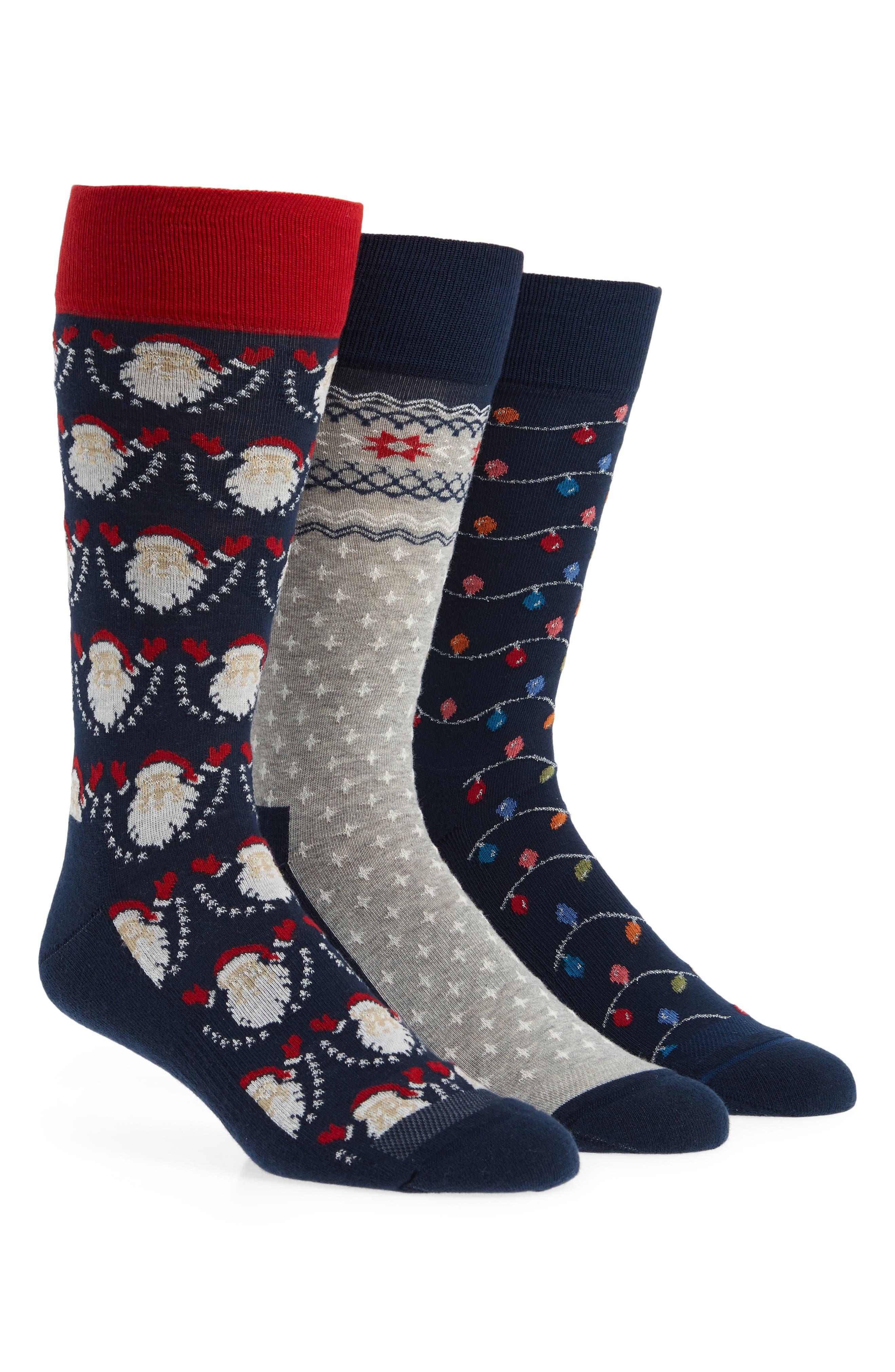 3-Pack Holiday Novelty Socks Box Set,                         Main,                         color, SANTA/ FAIRISLE/ LIGHTS