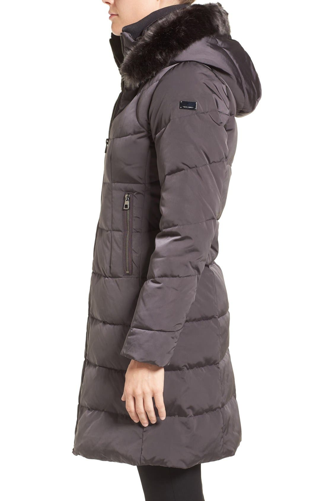Down & Feather Fill Coat with Faux Fur Trim Hood,                             Alternate thumbnail 18, color,
