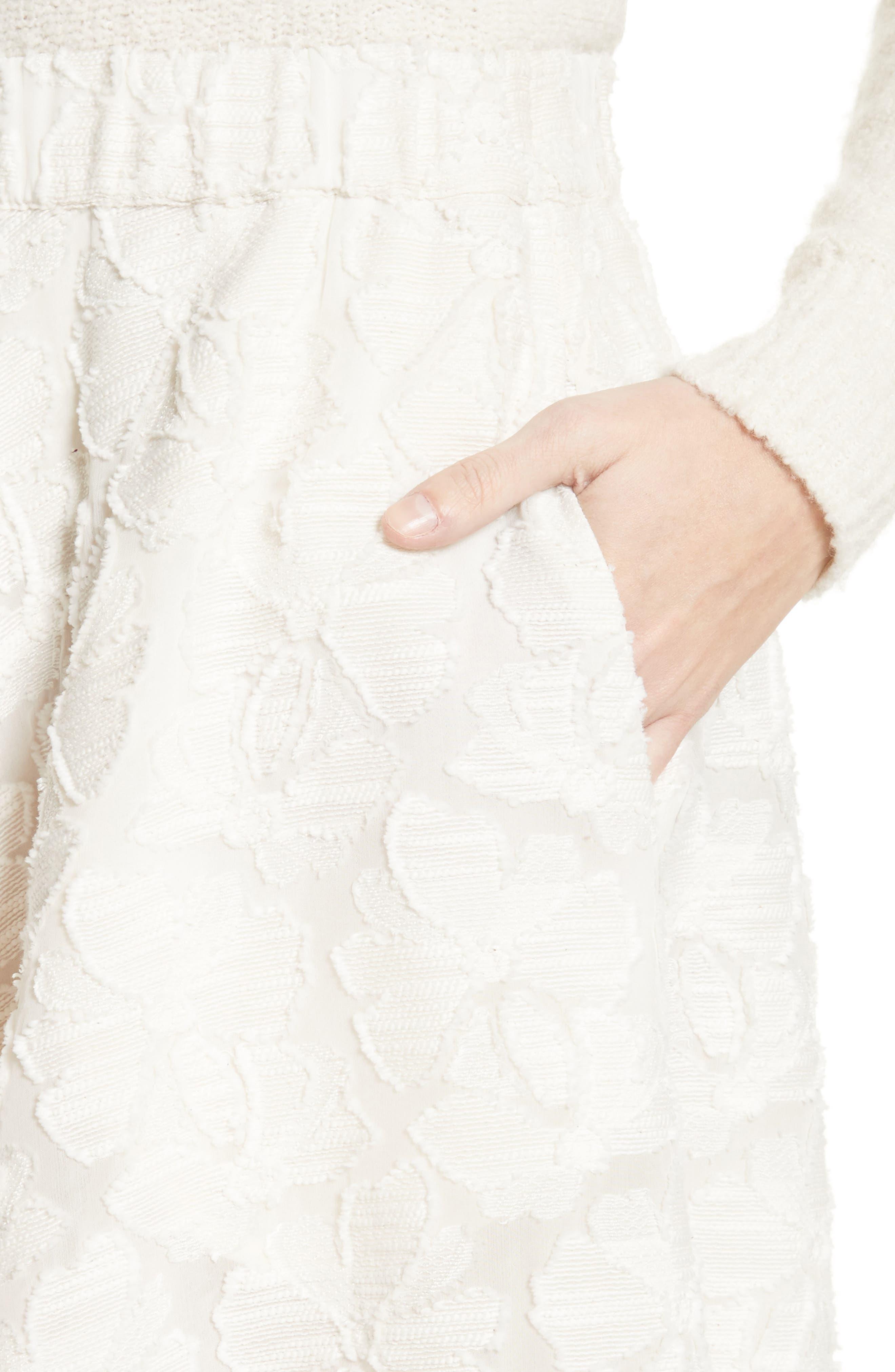 Pleated Fil Coupé Midi Skirt,                             Alternate thumbnail 4, color,                             900