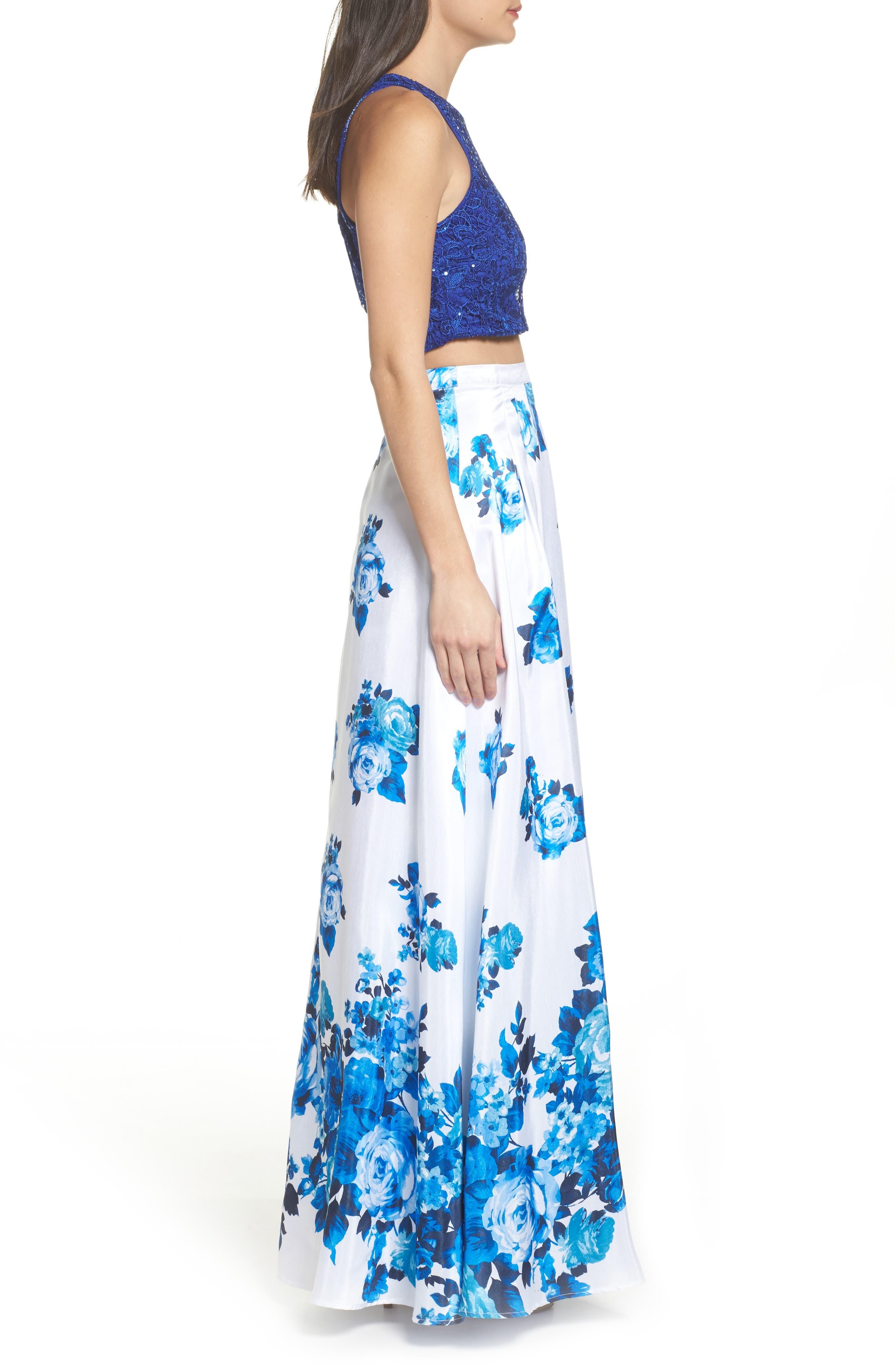 Floral Lace Two-Piece Gown,                             Alternate thumbnail 3, color,