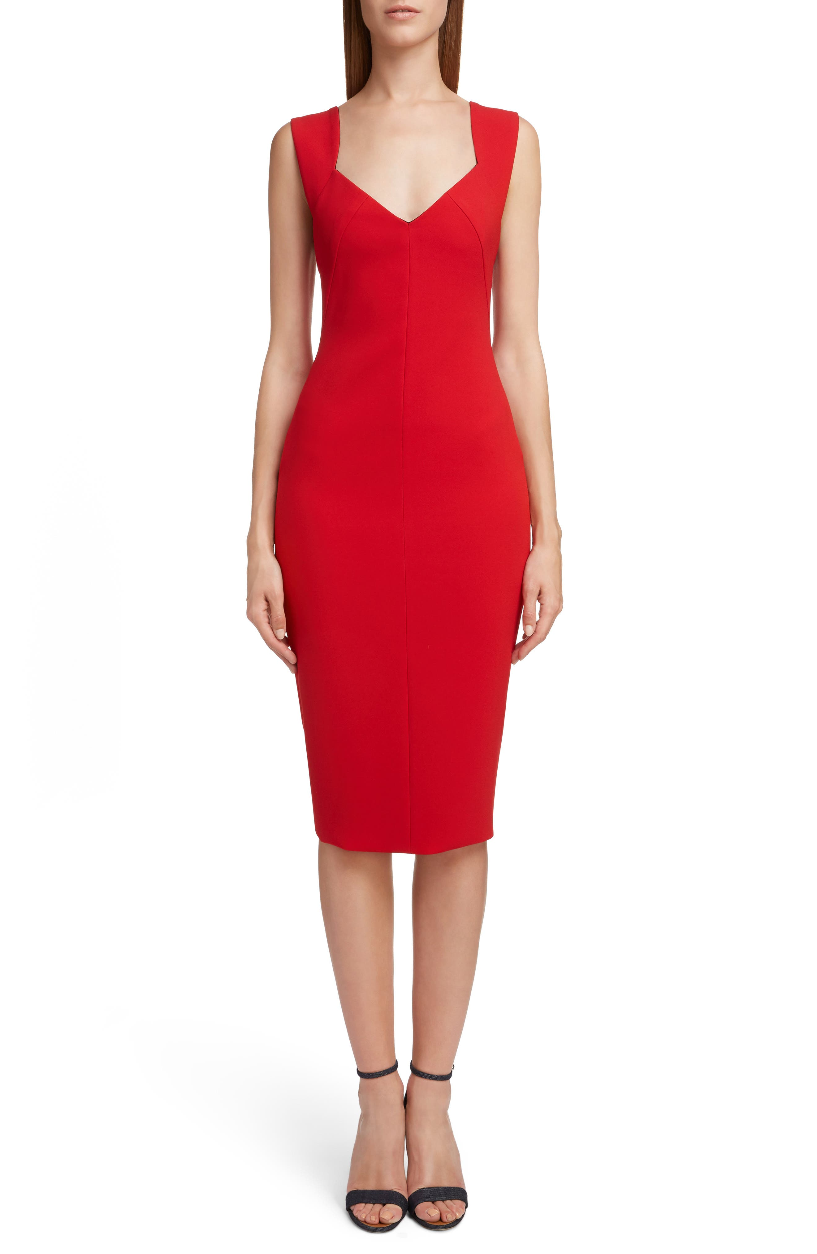 Victoria Beckham Sweetheart Neck Body-Con Dress, US / 8 UK - Red