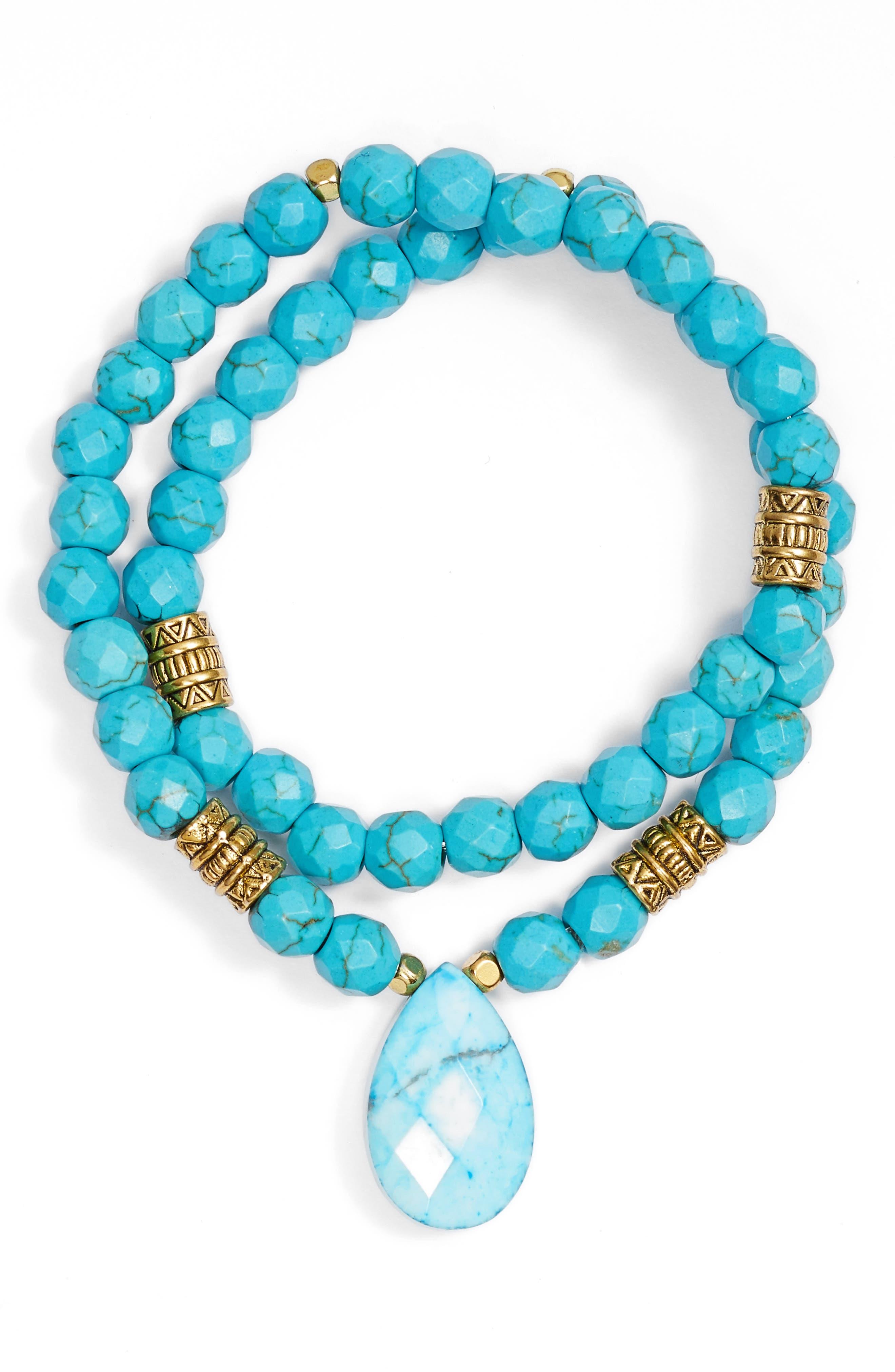 Inca Double Stretch Stone Bracelet,                             Main thumbnail 6, color,