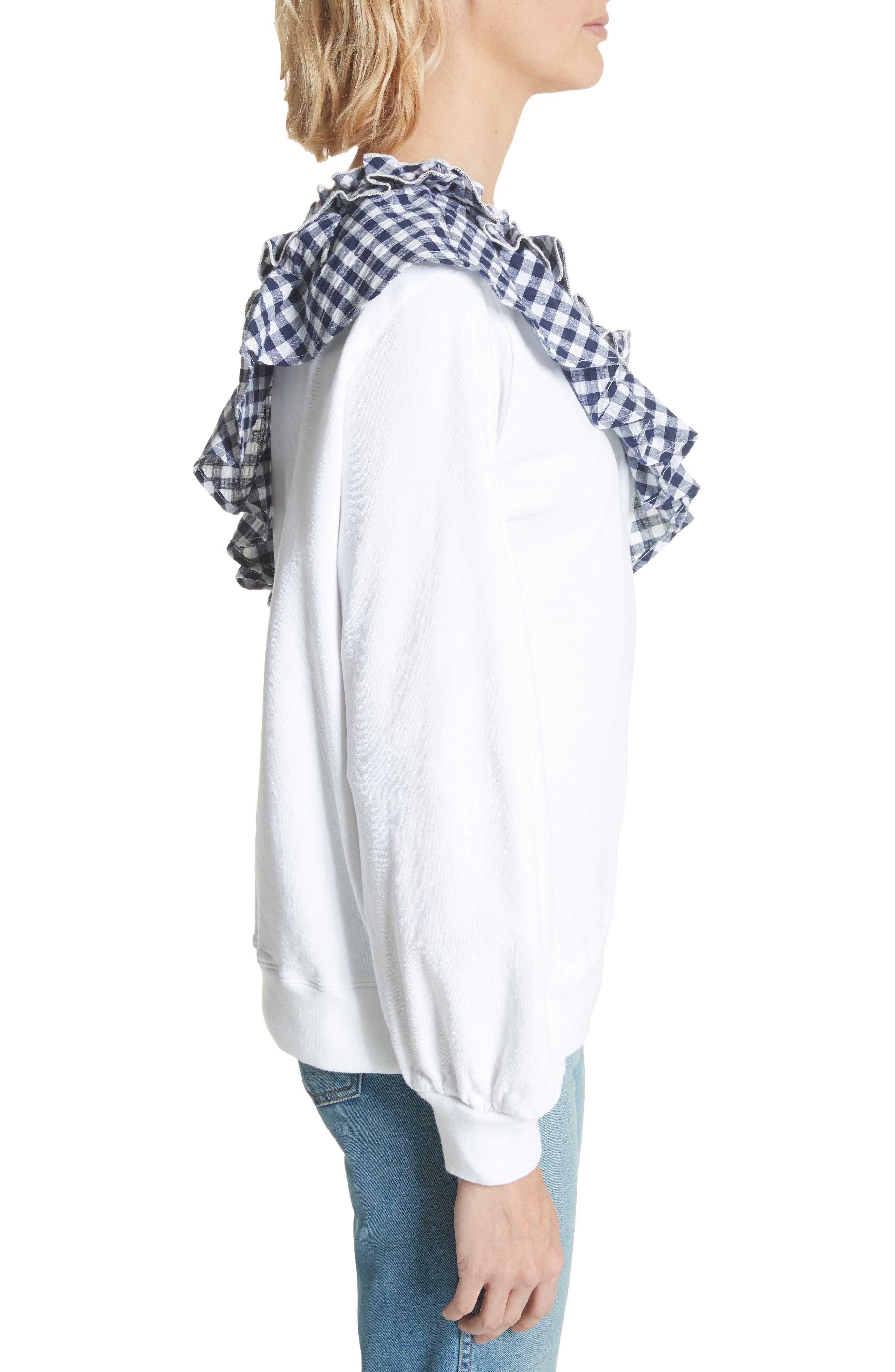 Gingham Ruffle One-Shoulder Sweatshirt,                             Alternate thumbnail 3, color,                             100