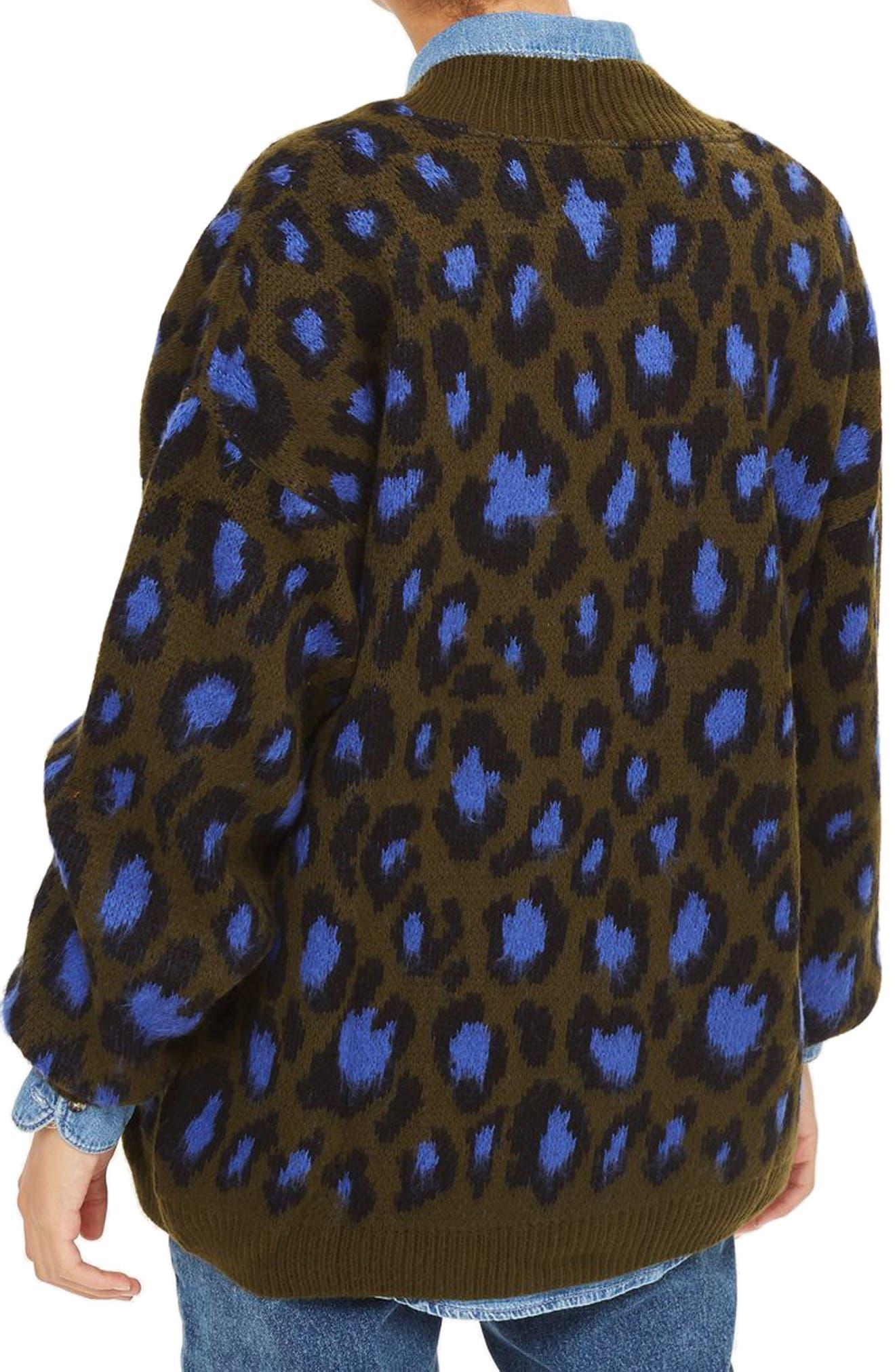 Leopard Print Cardigan,                             Alternate thumbnail 4, color,