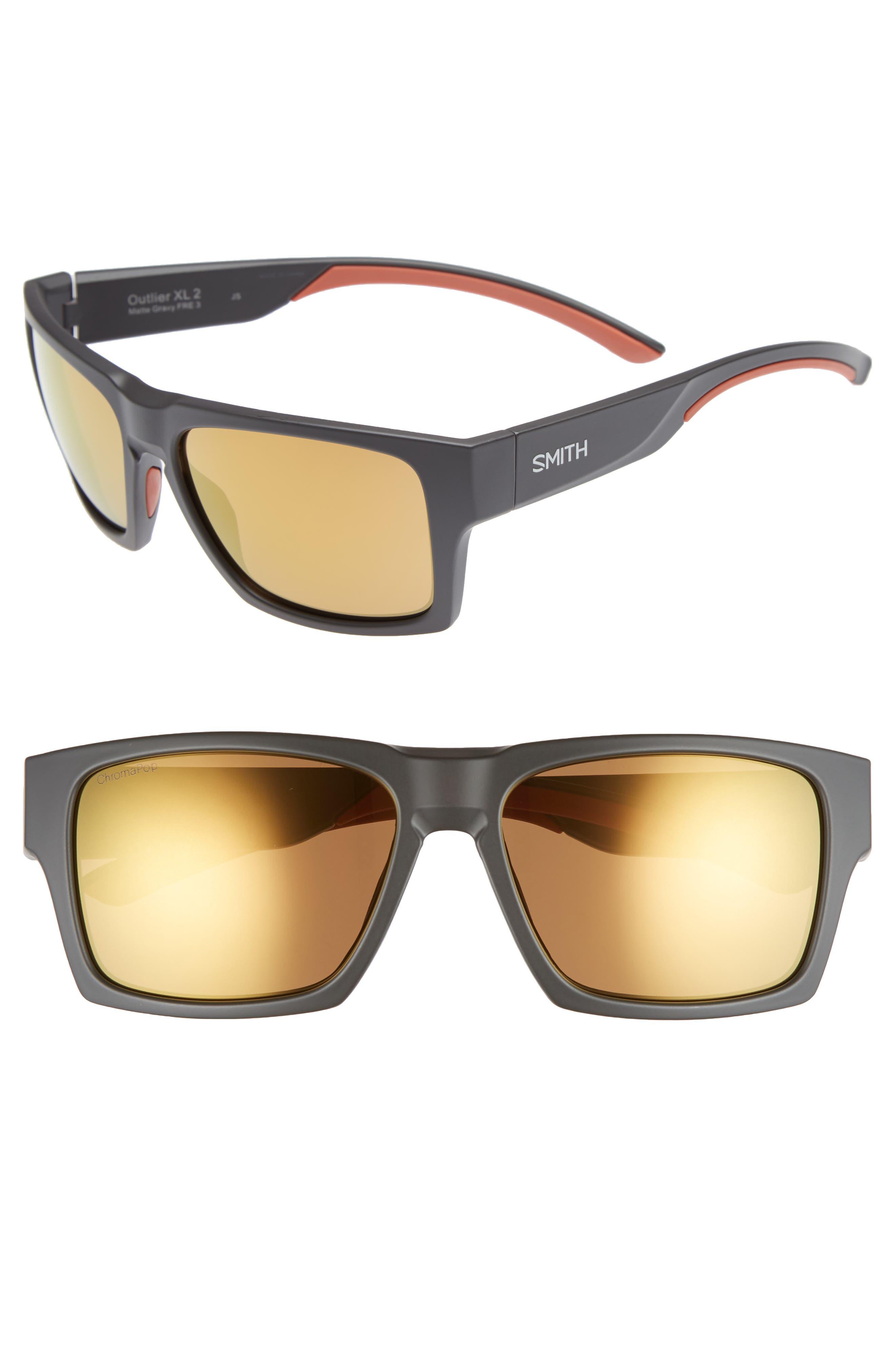 Outlier 2 XL 59mm ChromaPop Sunglasses,                         Main,                         color, MATTE GRAVY/ BRONZE MIRROR