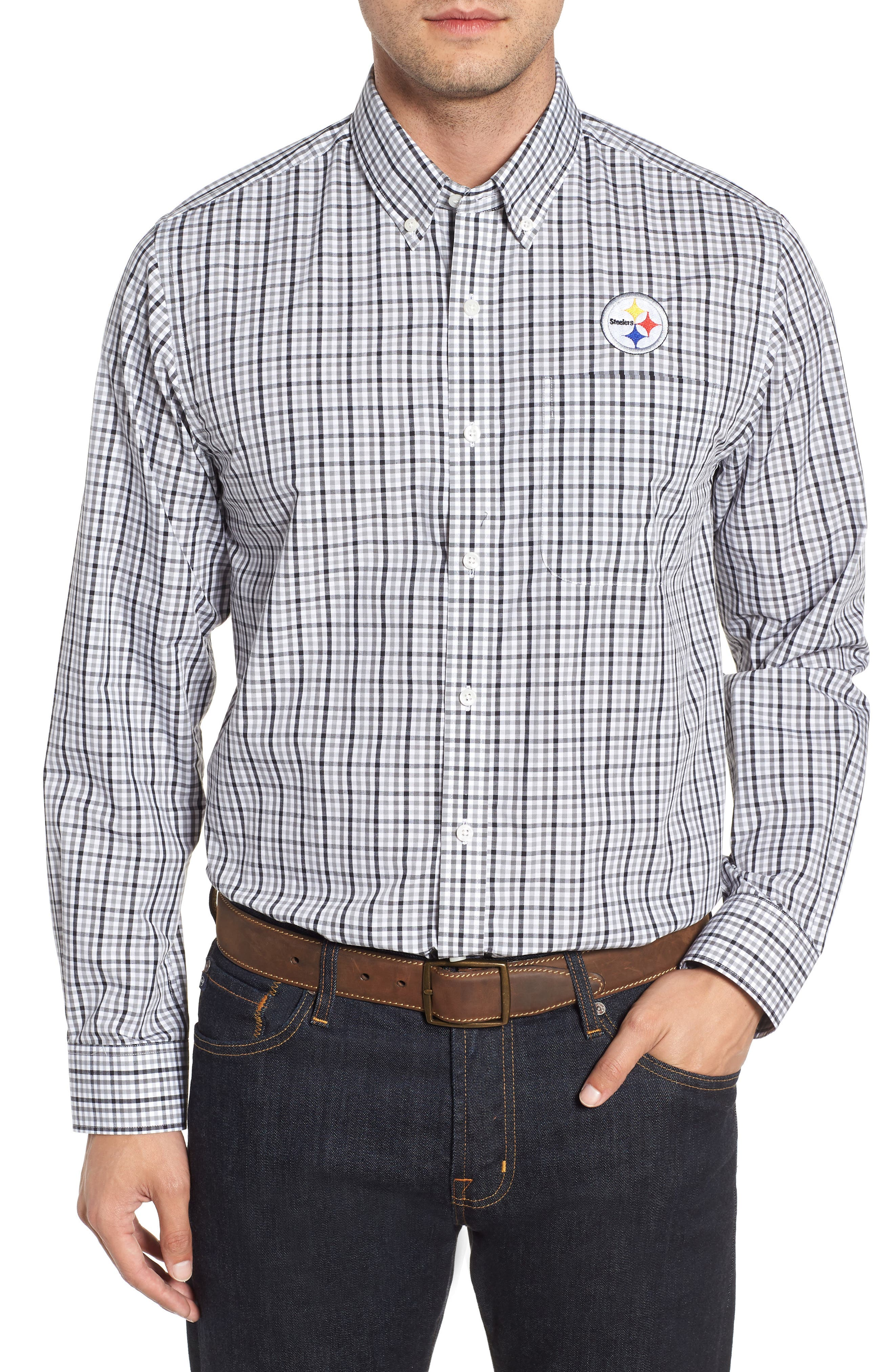 Pittsburgh Steelers - Gilman Regular Fit Plaid Sport Shirt,                         Main,                         color, BLACK
