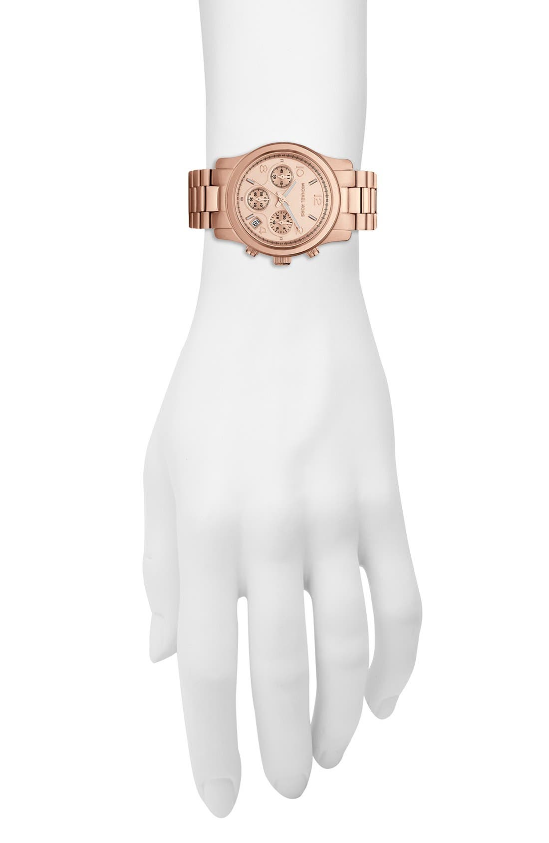 MICHAEL MICHAEL KORS,                             Michael Kors 'Runway' Rose Gold Plated Watch, 37mm,                             Alternate thumbnail 5, color,                             710