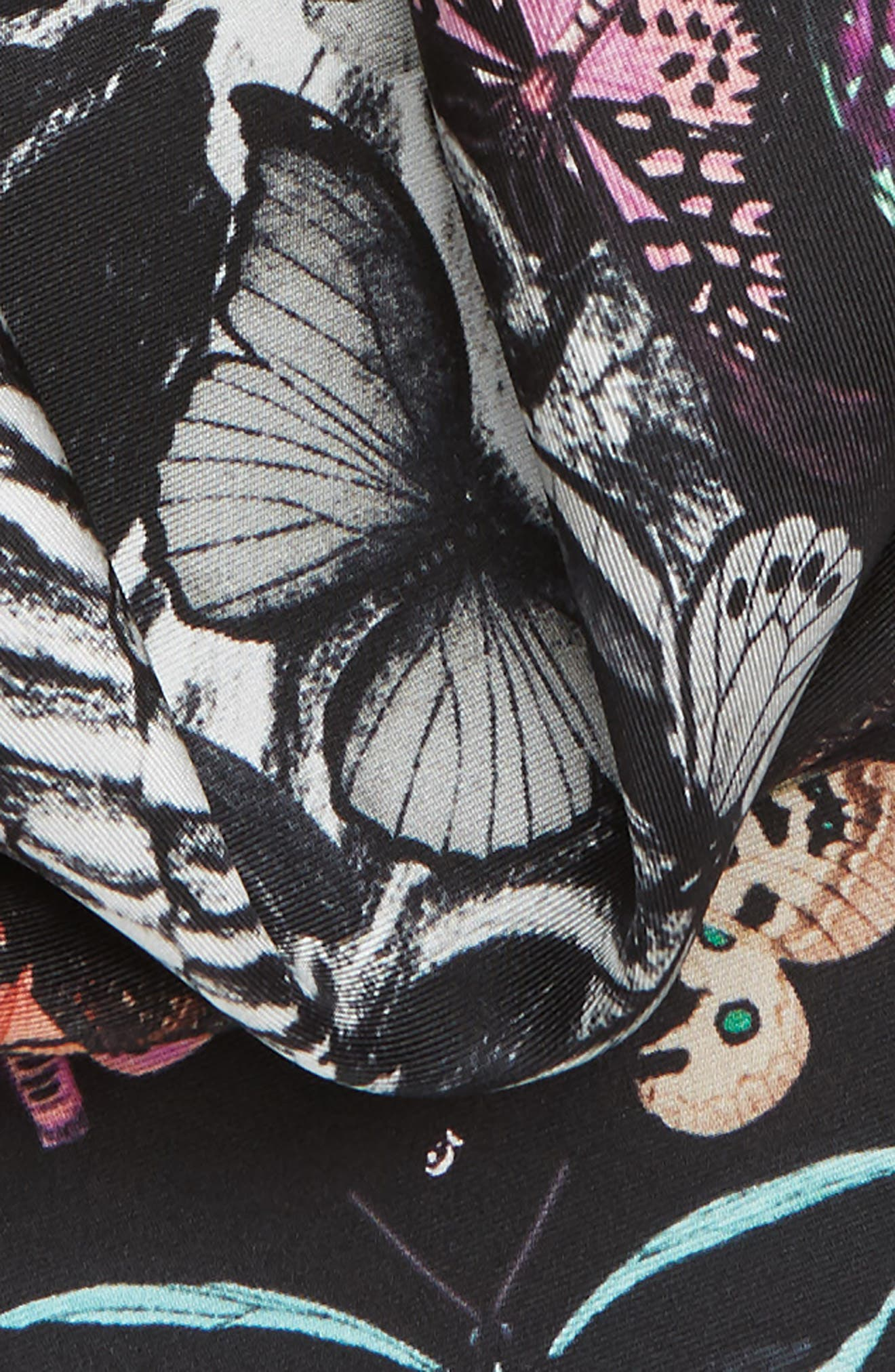 Skull & Rainbow Butterflies Print Silk Bandana,                             Alternate thumbnail 4, color,                             BLACK/ IVORY