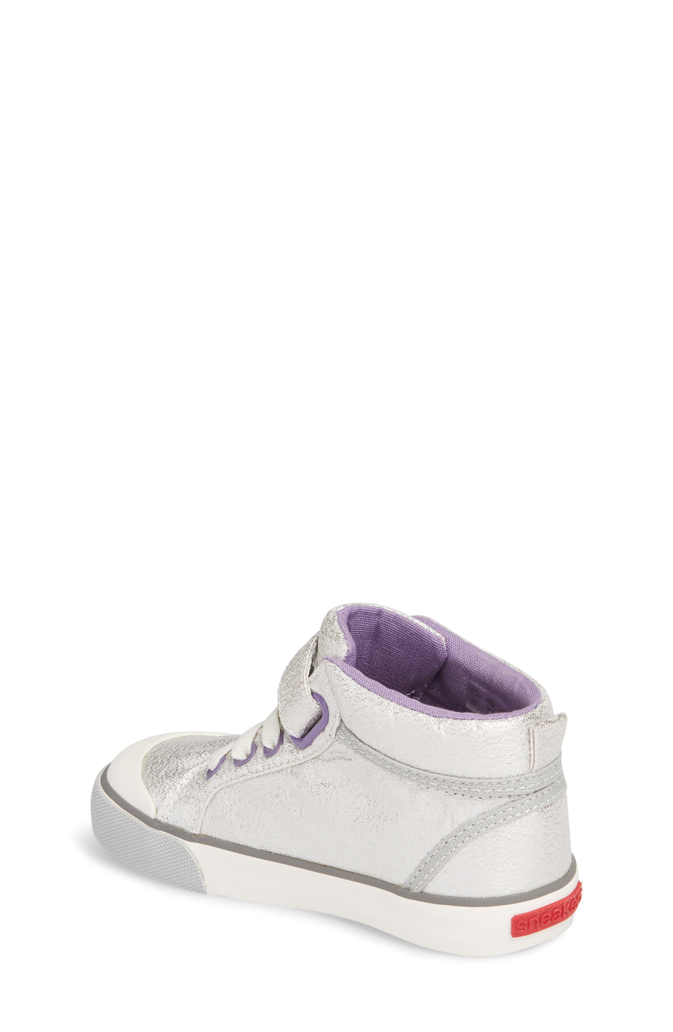 Peyton Metallic Mid Top Sneaker,                             Alternate thumbnail 2, color,                             SILVER GLITTER