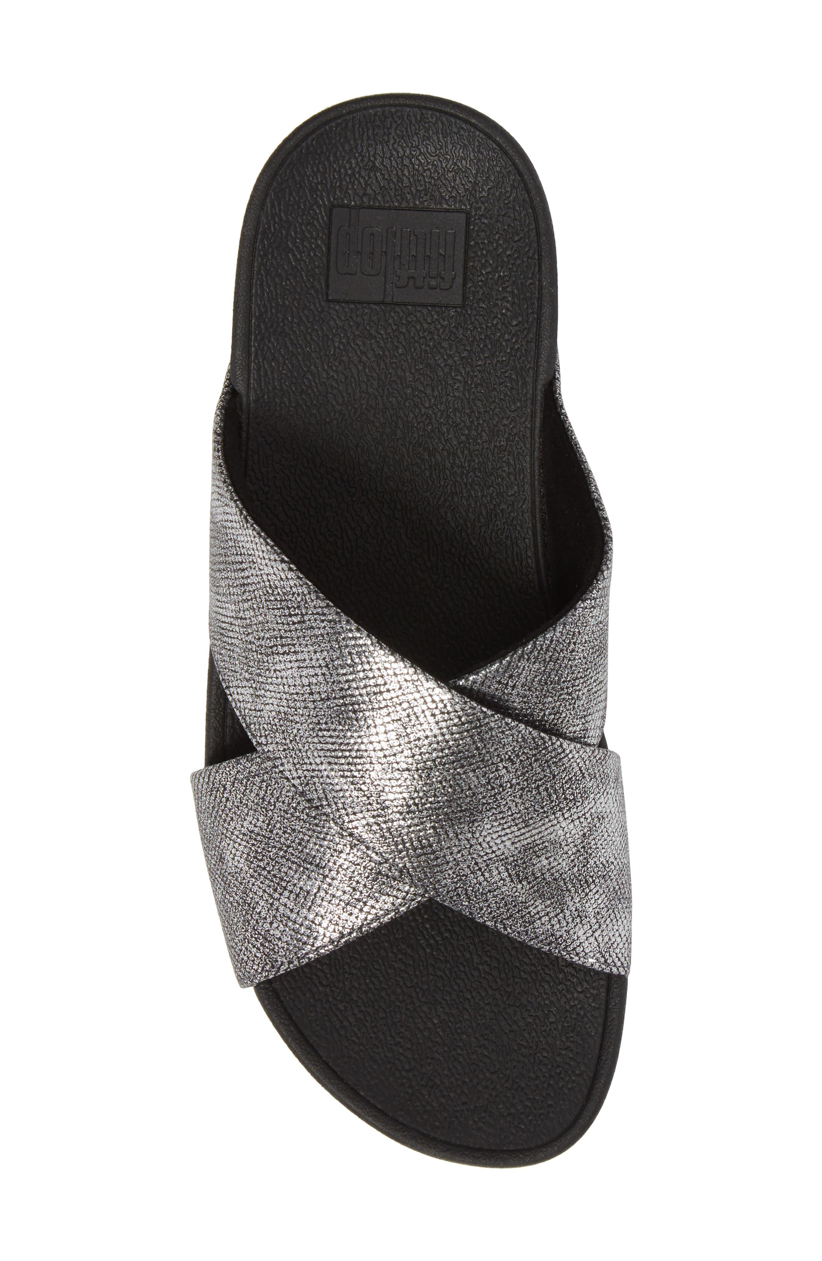 Lulu Cross Slide Sandal,                             Alternate thumbnail 5, color,                             BLACK SHIMMER PRINT