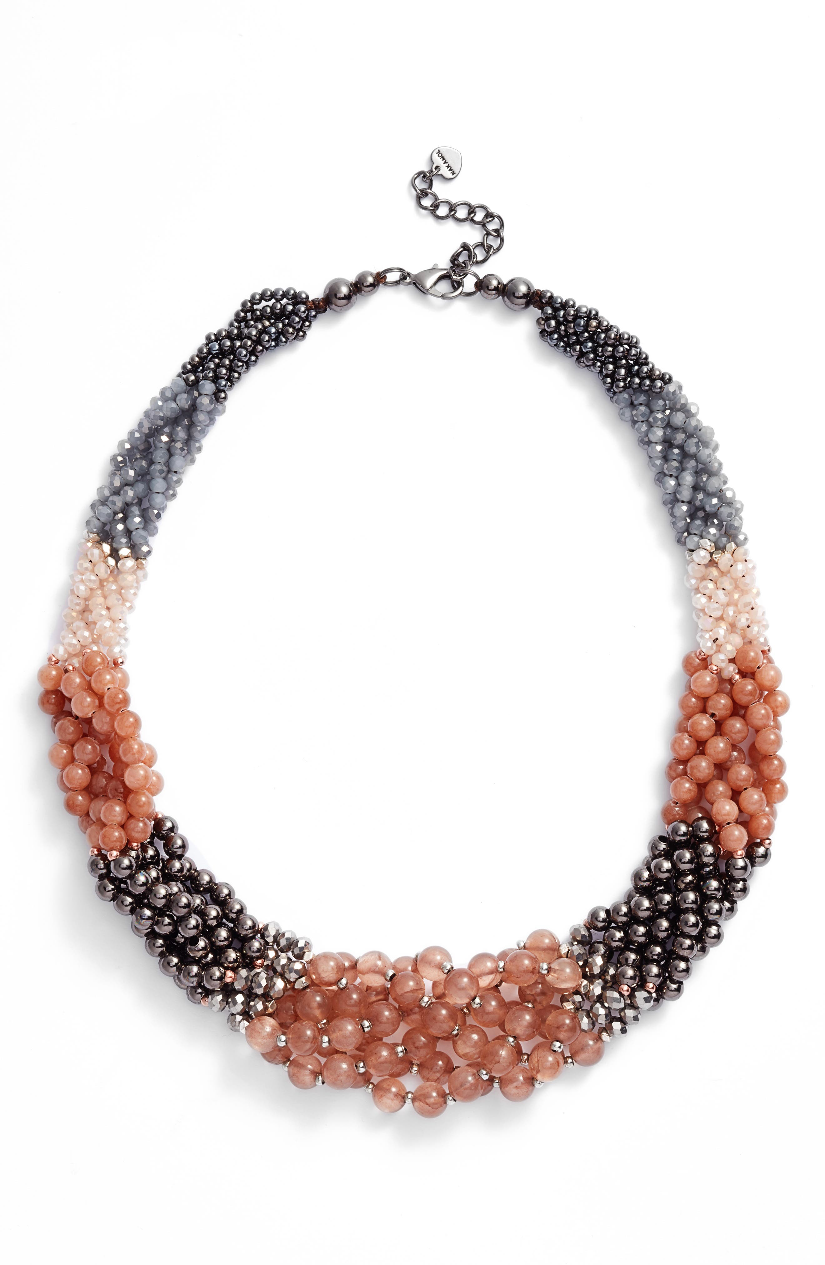 Braided Stone Statement Necklace,                         Main,                         color,