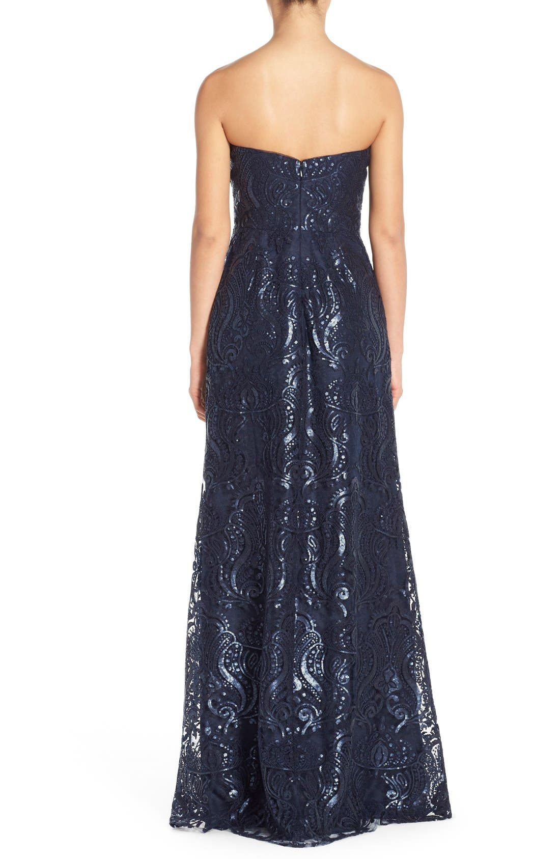 Sadie Sequin Lace Strapless A-Line Gown,                             Alternate thumbnail 2, color,                             410