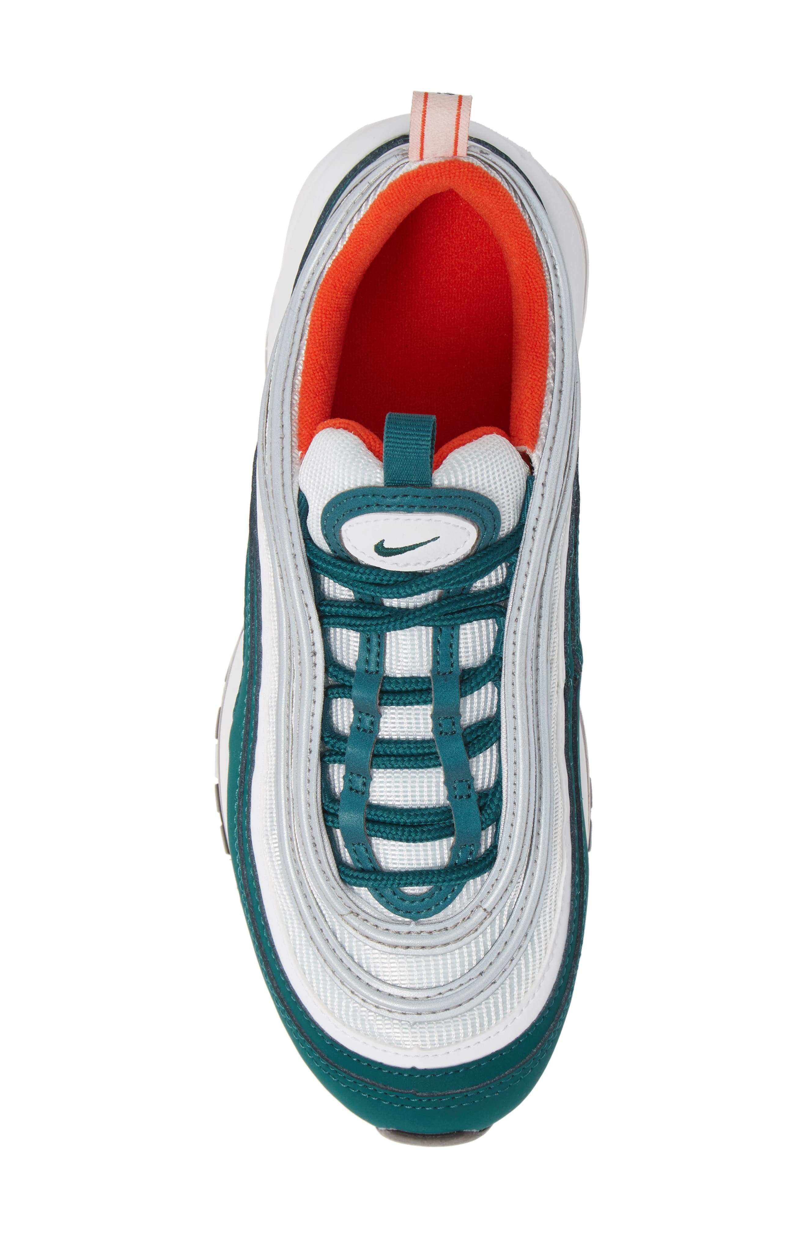 NIKE,                             Air Max 97 Sneaker,                             Alternate thumbnail 5, color,                             RAINFOREST/ WHITE/ ORANGE