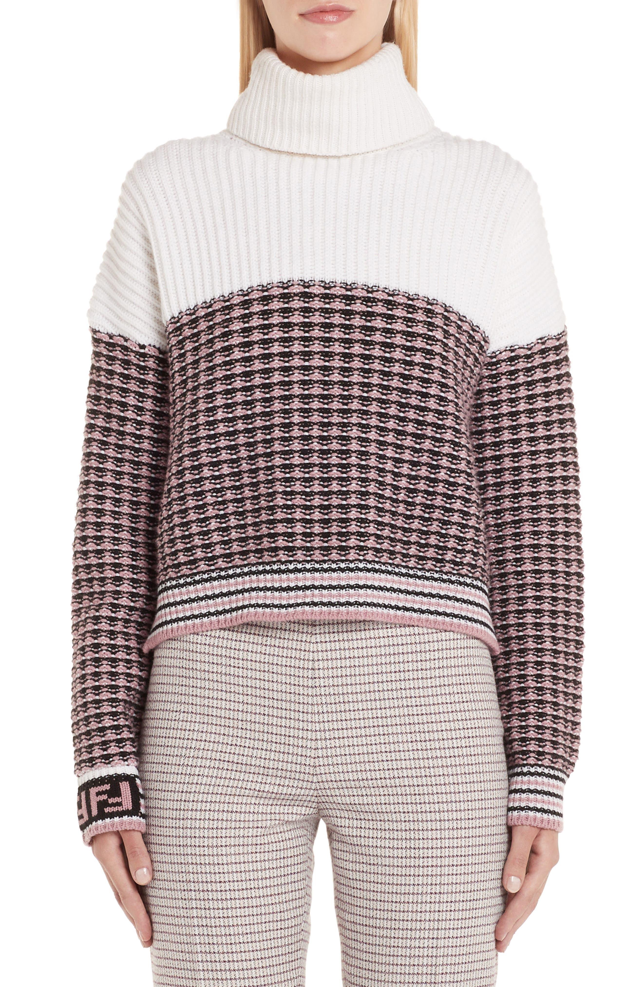 Microcheck Wool & Cashmere Sweater,                             Main thumbnail 1, color,                             ARUBA PINK