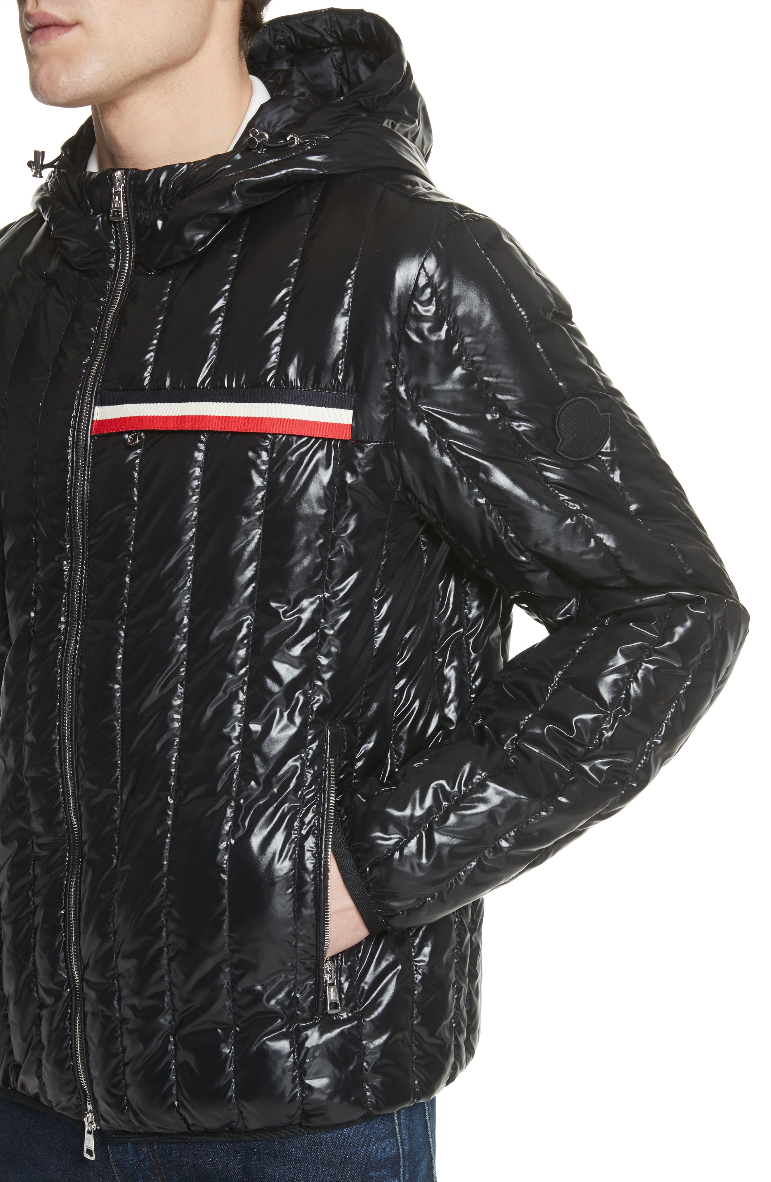 Diren Down Hooded Jacket,                             Alternate thumbnail 4, color,                             BLACK