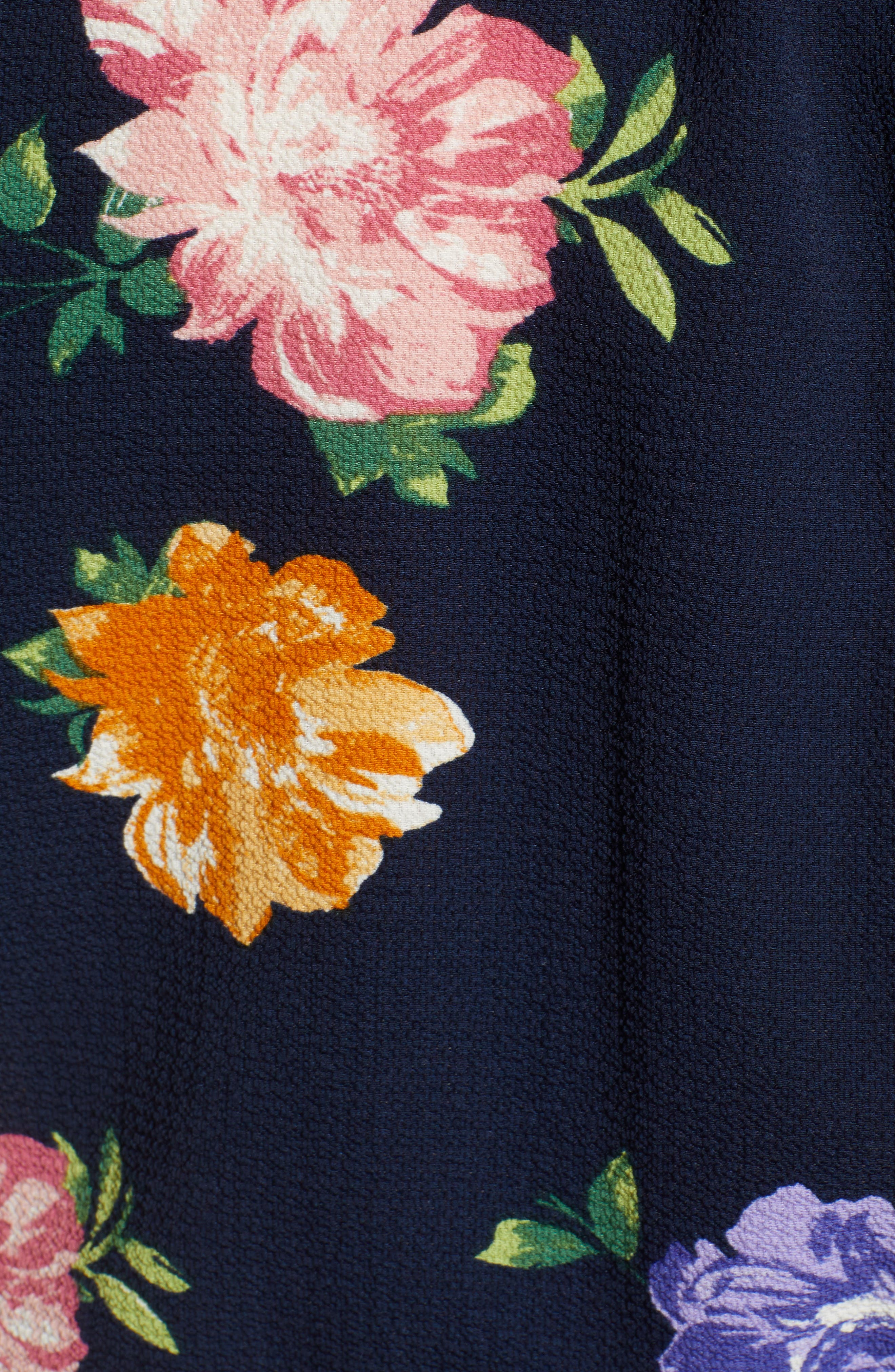 Frances Peplum Top,                             Alternate thumbnail 5, color,                             NAVY FLORAL PRINT