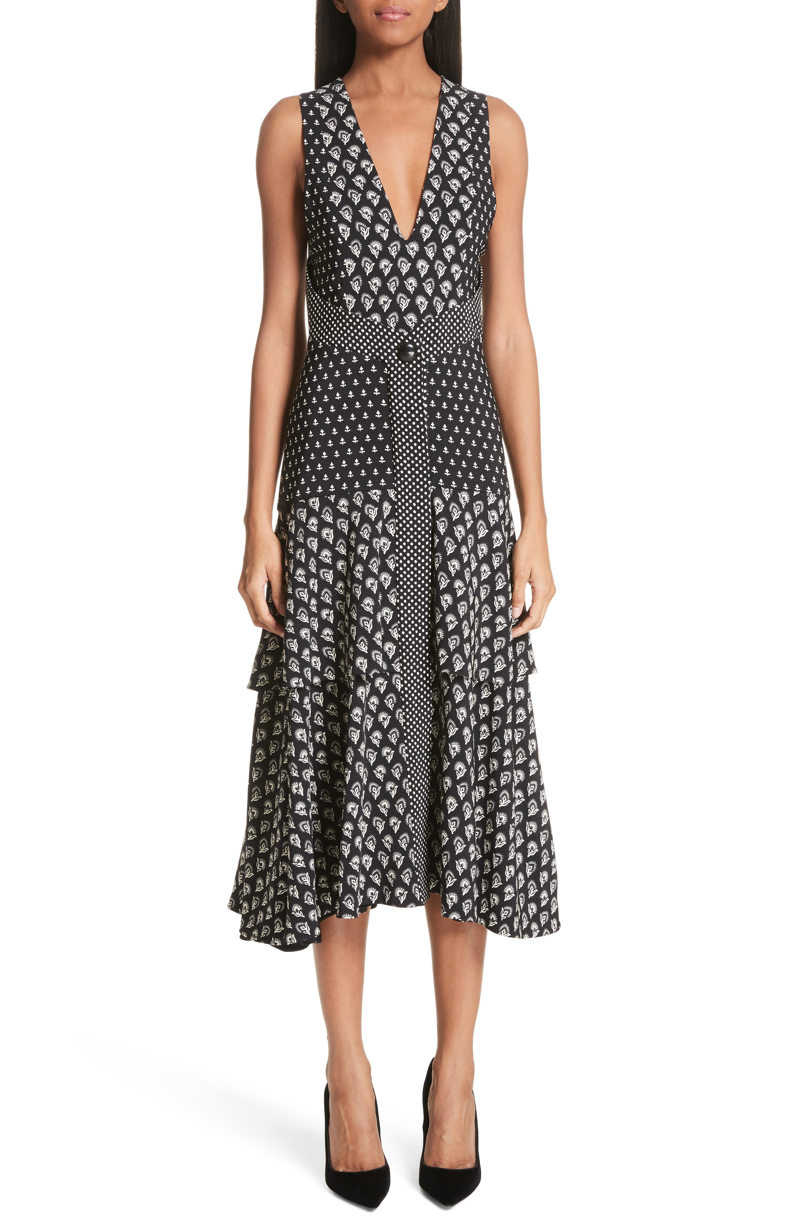 Proenza Schouler Mixed Print Button Detail Midi Dress, Black