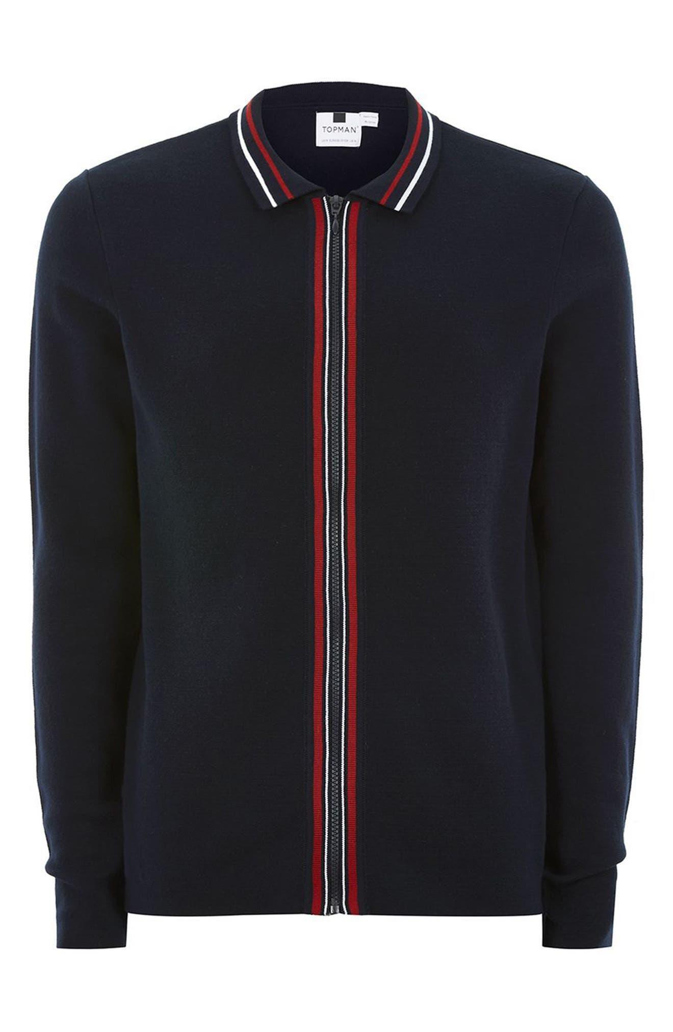 TOPMAN,                             Stripe Knit Zip Front Harrington Sweatshirt,                             Alternate thumbnail 4, color,                             410